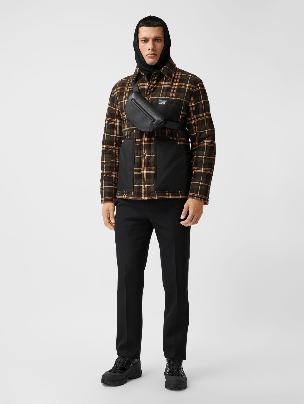 Contrast Pocket Check Cotton Flannel Overshirt in Olive