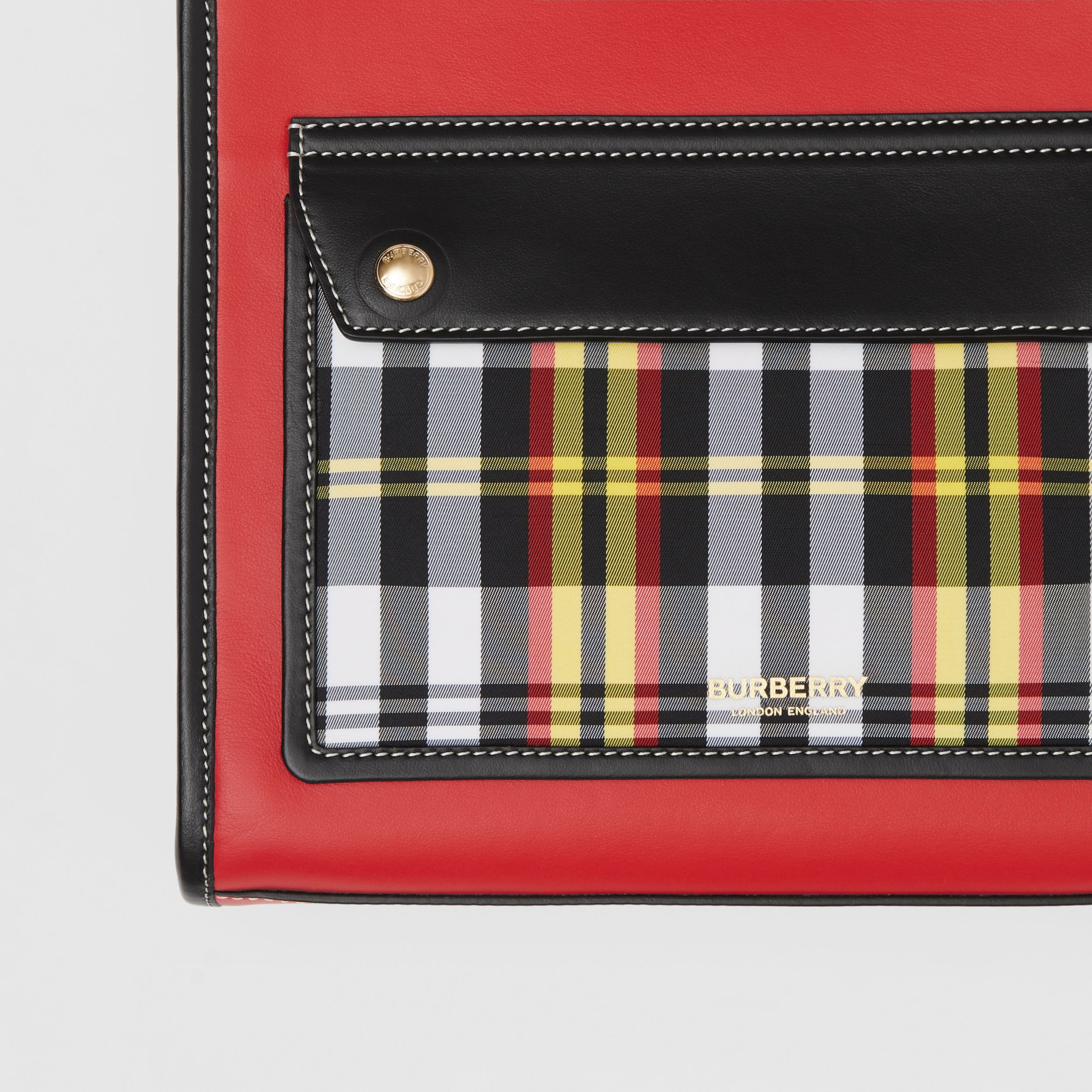 Mini Two-tone Leather and Check Pocket Bag in Bright Red - Women | Burberry - 2