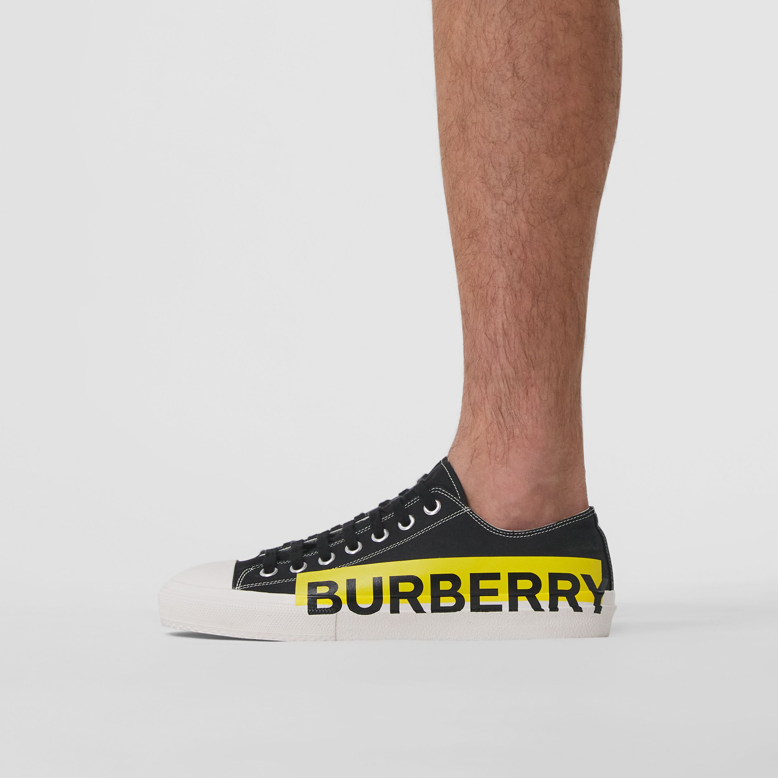 Logo Print Two-tone Cotton Gabardine Sneakers in Black - Men | Burberry Canada - 3