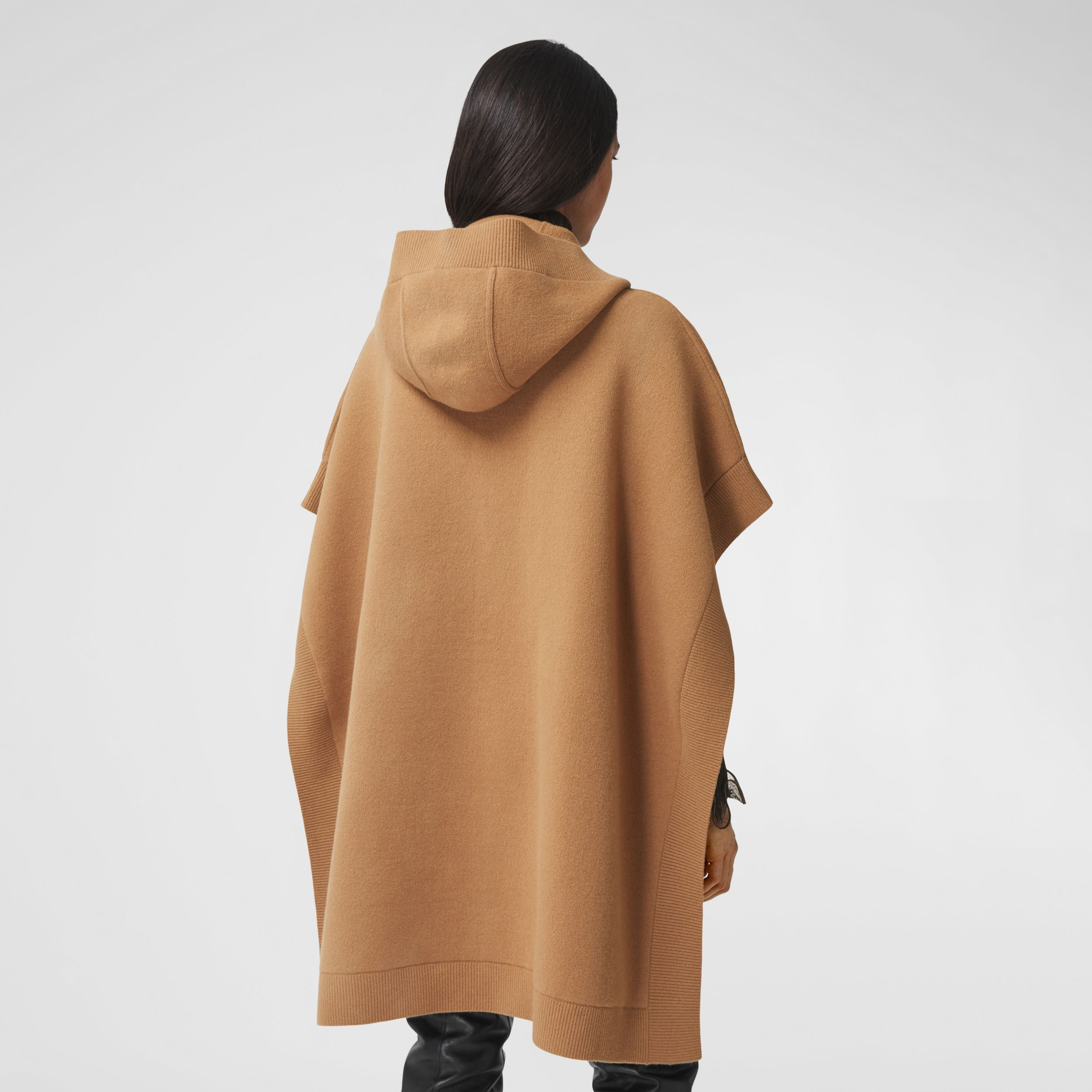 Monogram Motif Cashmere Blend Hooded Cape in Camel - Women | Burberry - 3