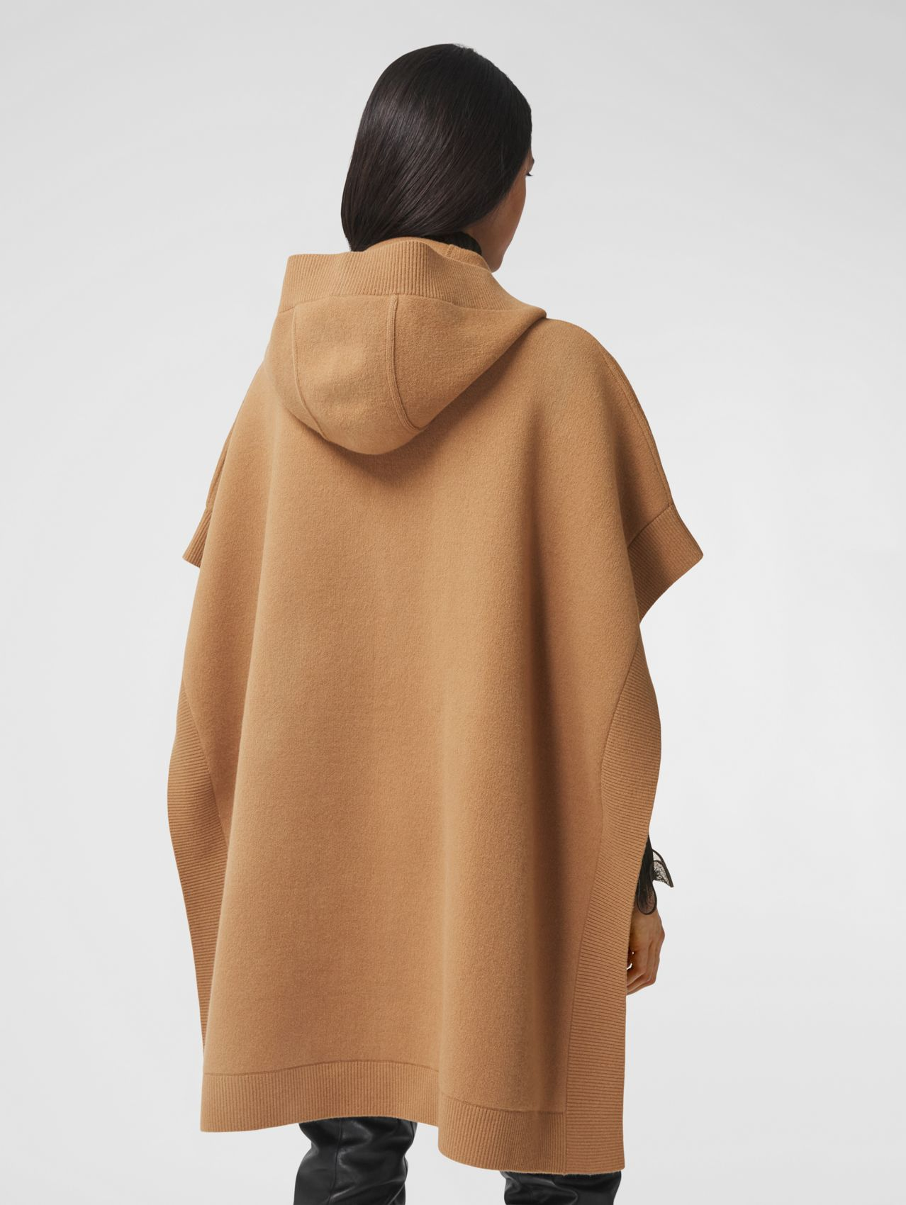 Monogram Motif Cashmere Blend Hooded Cape in Camel