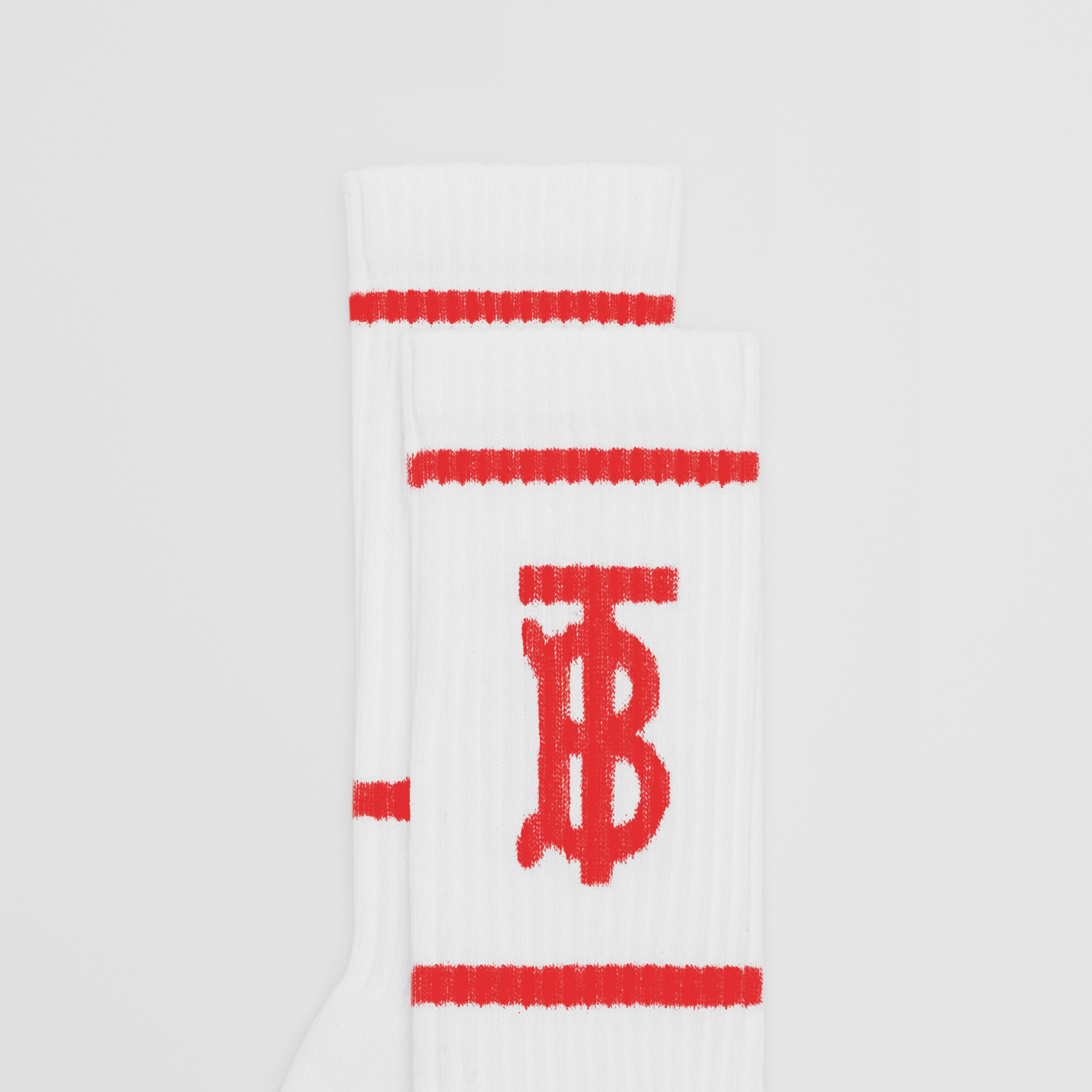 Monogram Motif Intarsia Socks in White/red | Burberry Hong Kong S.A.R. - 2