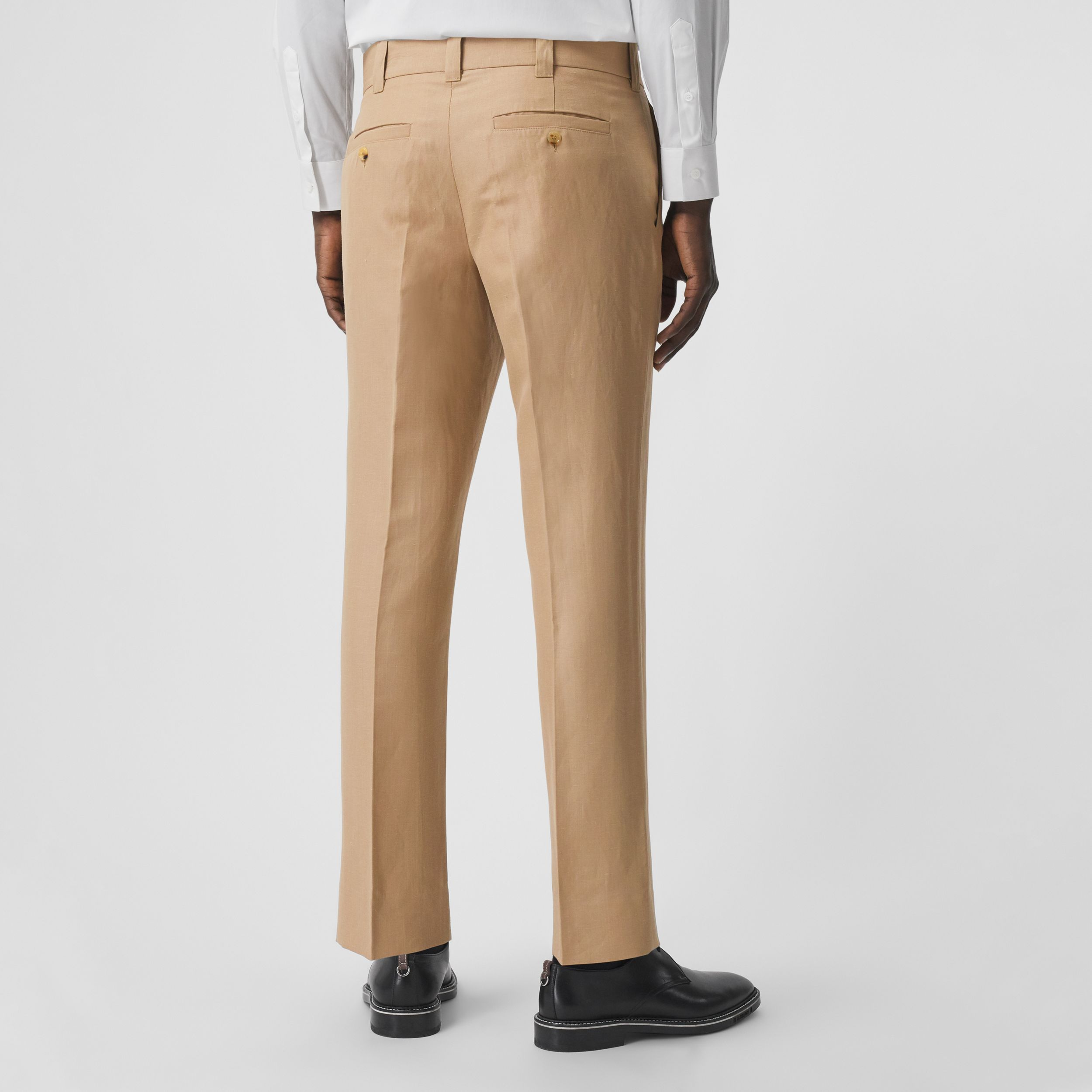 Wool Linen Cropped Tailored Trousers in Honey - Men | Burberry United States - 3