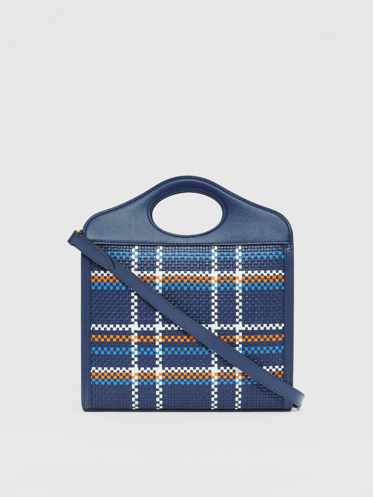 Mini Latticed Leather Pocket Bag in Blue/white/orange