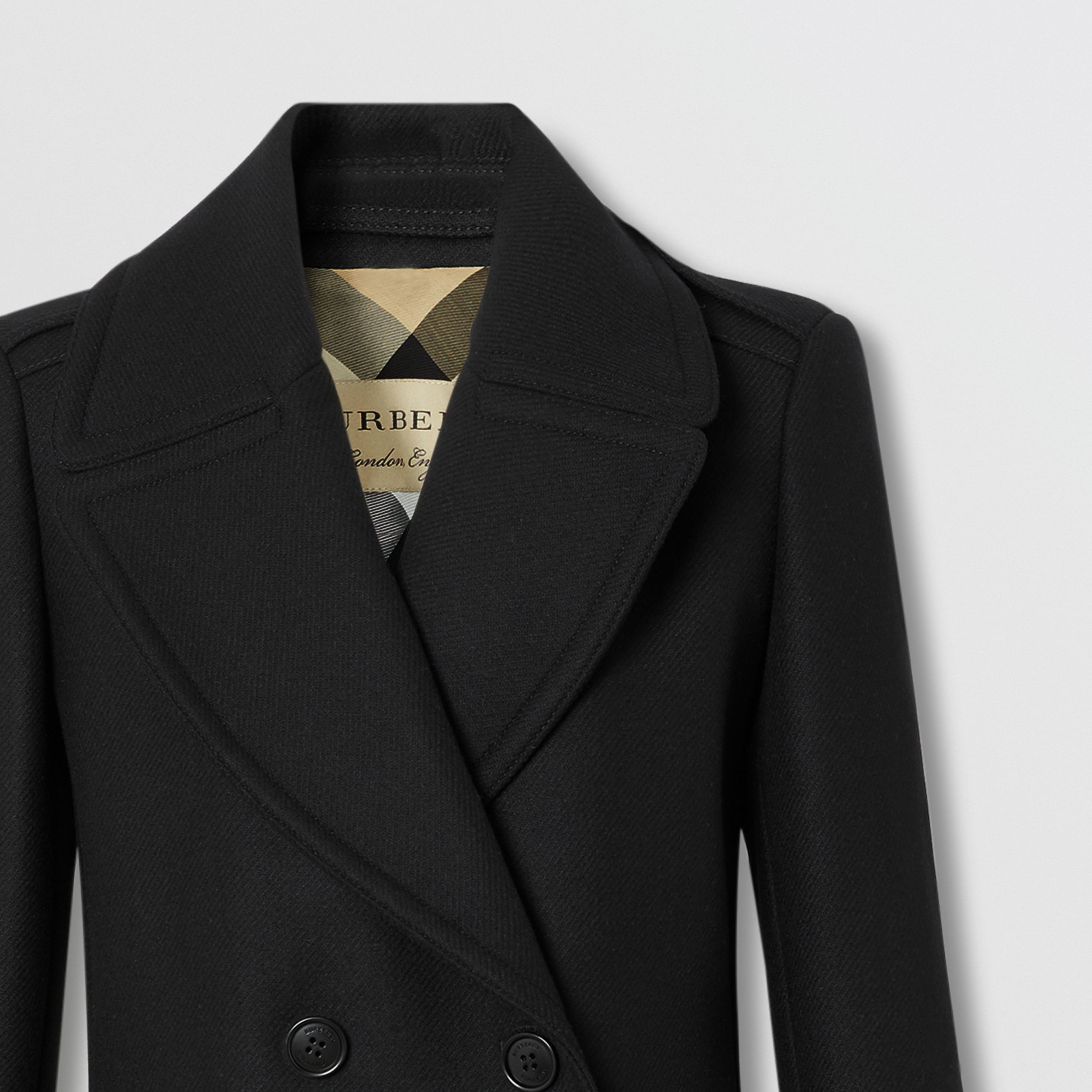 Wool Cashmere Blend Pea Coat in Black - Women | Burberry - 2