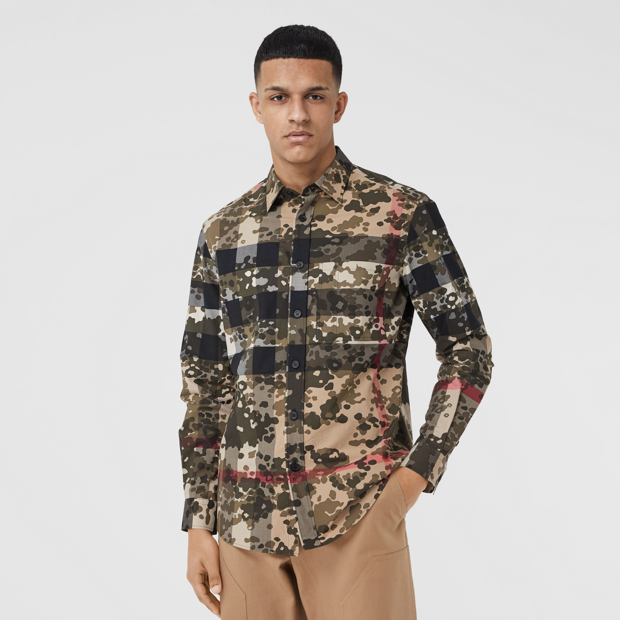 Camouflage Check Stretch Cotton Poplin Shirt in Archive Beige - Men | Burberry - 1