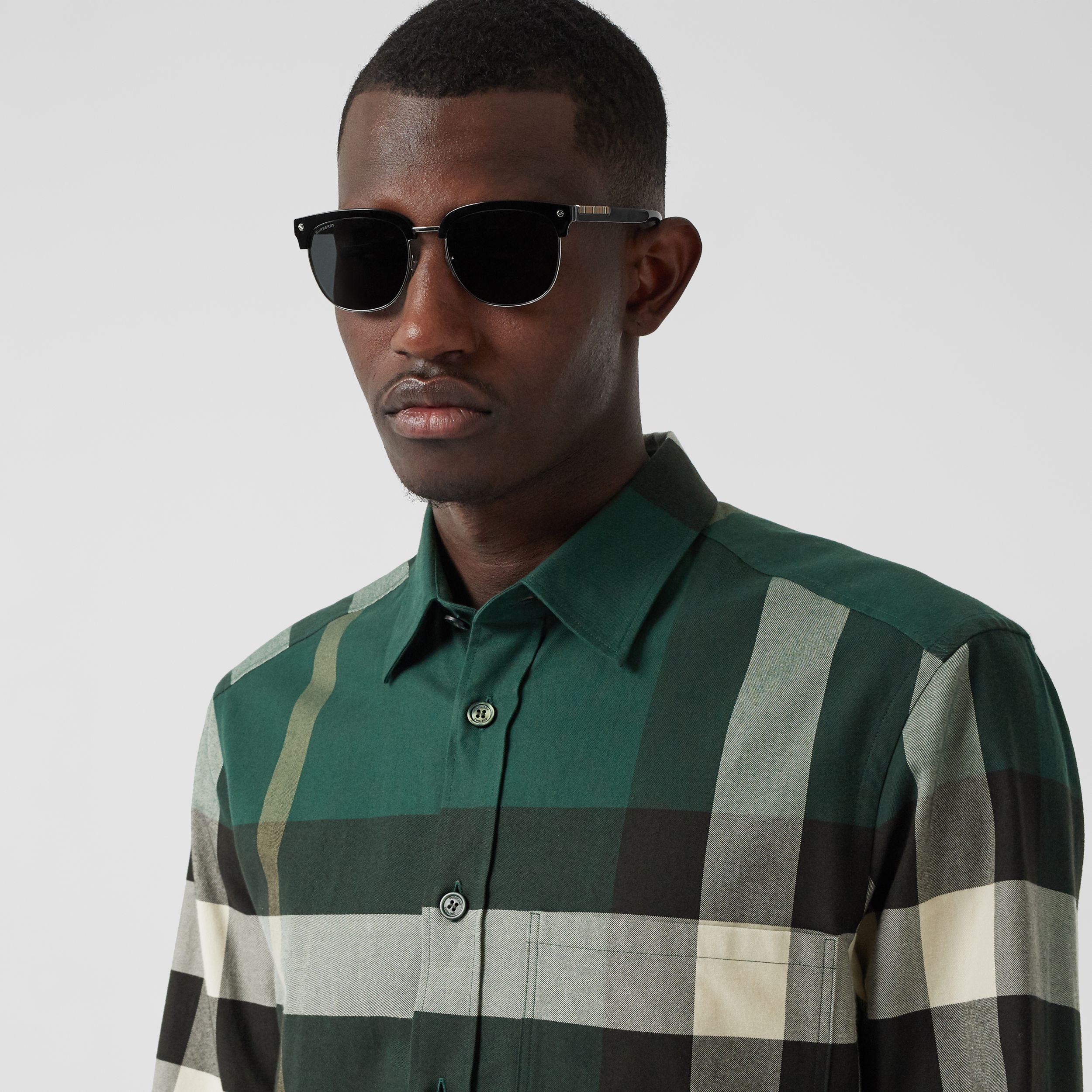 Check Cotton Flannel Shirt in Dark Forest Green - Men | Burberry - 2