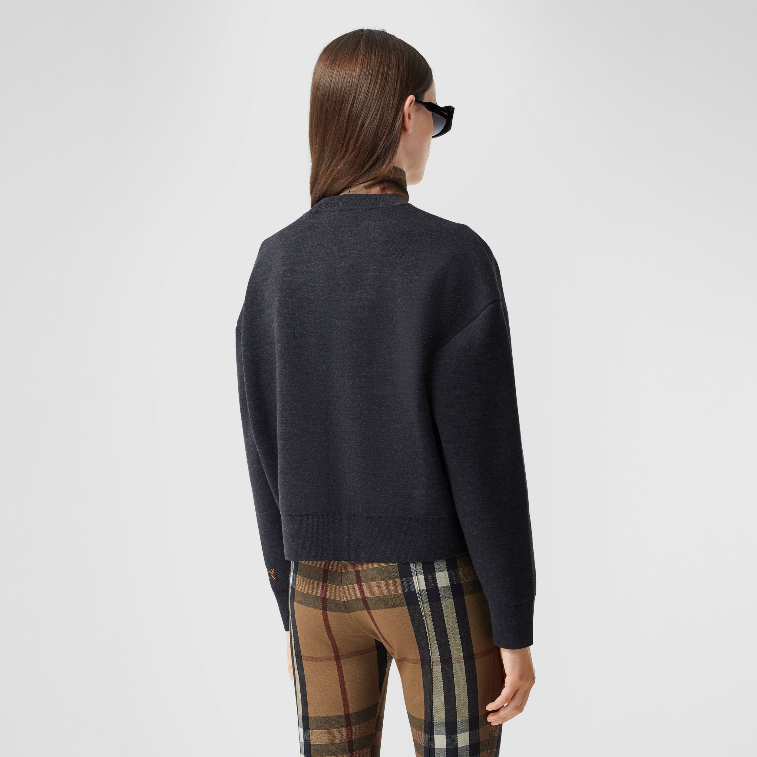 Logo Technical Merino Wool Jacquard Sweater in Charcoal Melange - Women | Burberry Hong Kong S.A.R. - 3