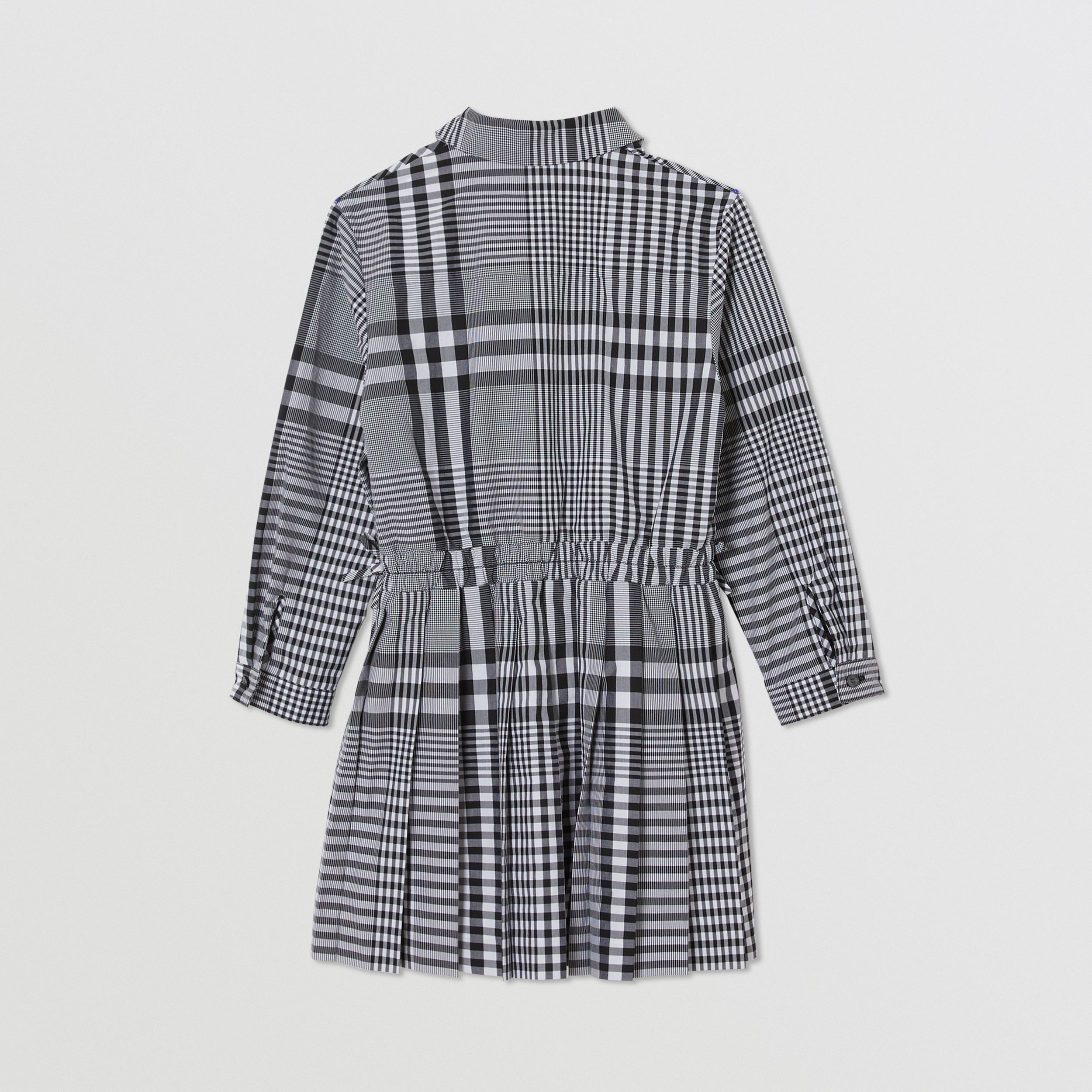 Long-sleeve Monogram Motif Check Cotton Dress in Black | Burberry - 4