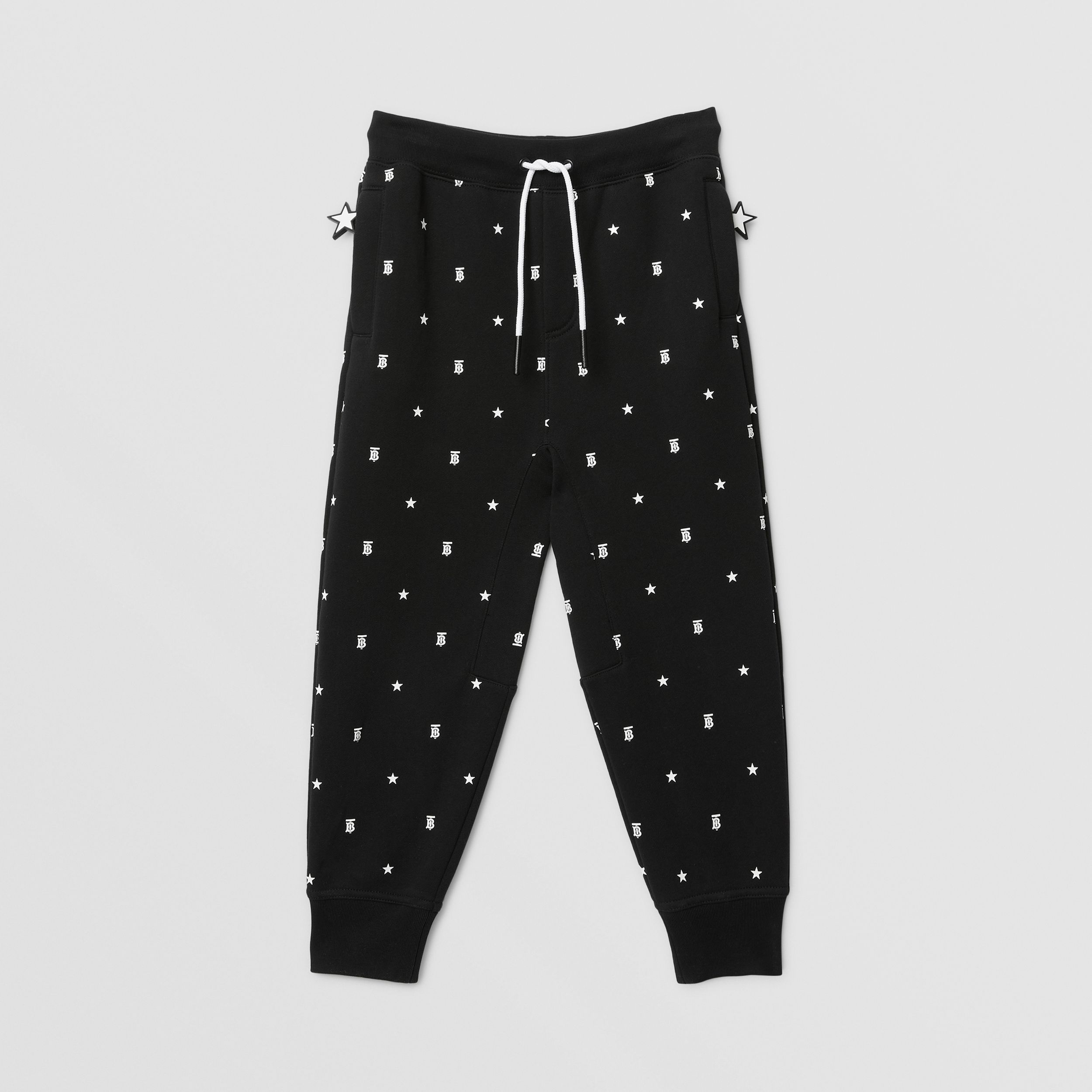 Star and Monogram Motif Cotton Jogging Pants in Black | Burberry - 1