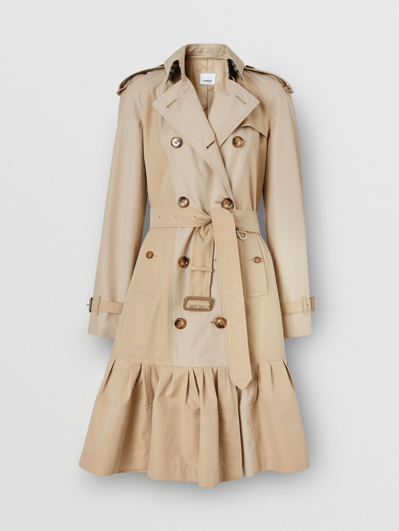 Gathered Detail Cotton Gabardine Trench Coat in Light Sand