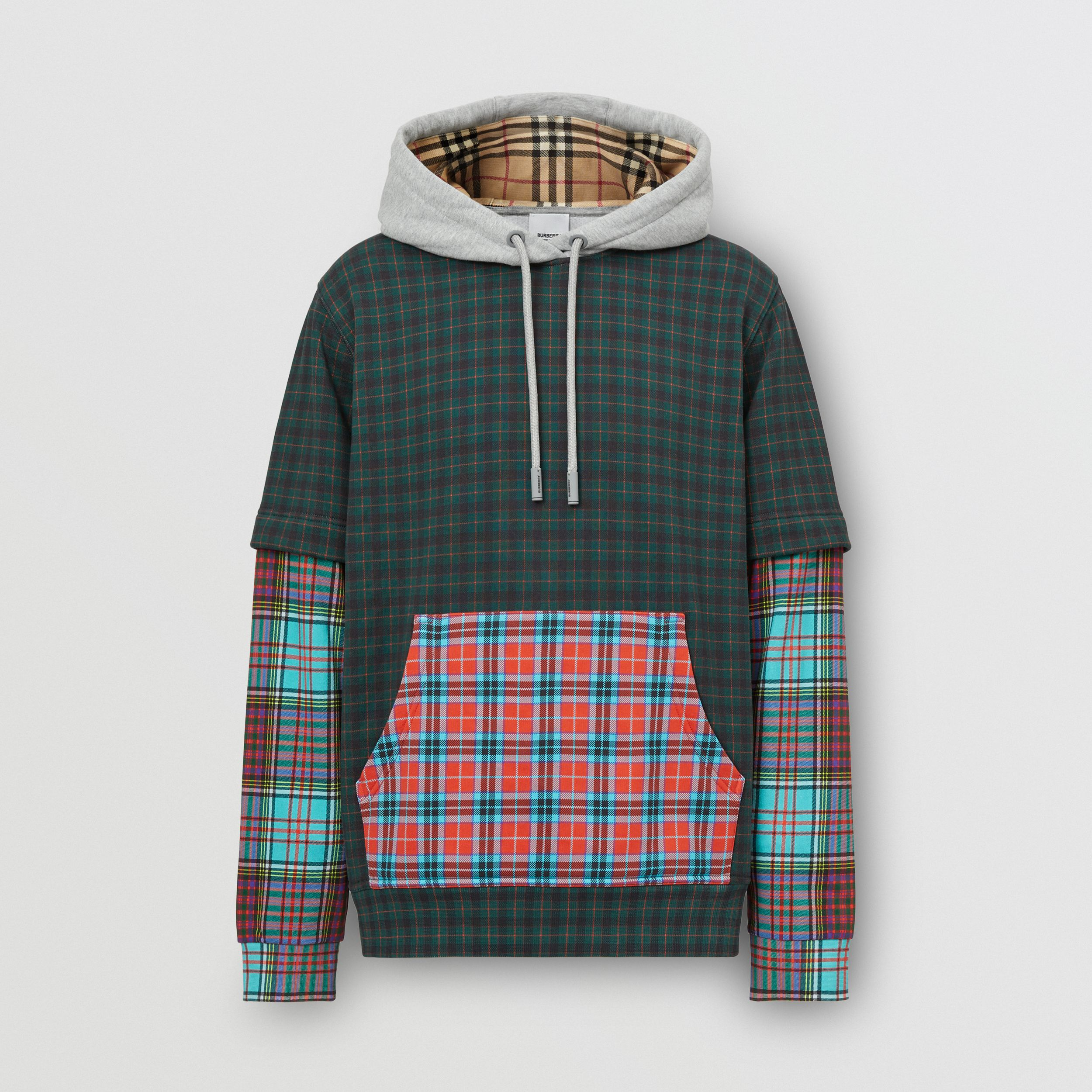 Patchwork Check Cotton Blend Hoodie - Men | Burberry - 4
