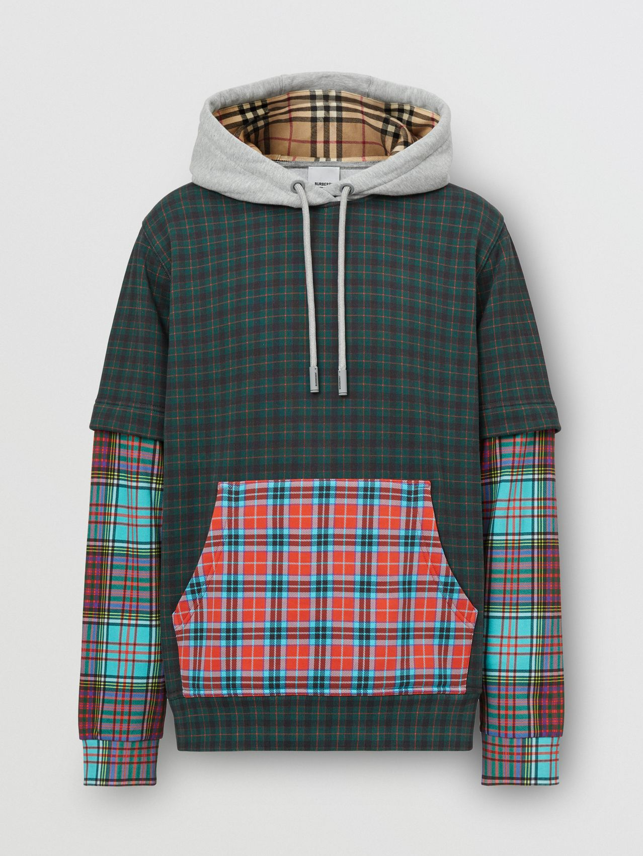 Patchwork Check Cotton Blend Hoodie