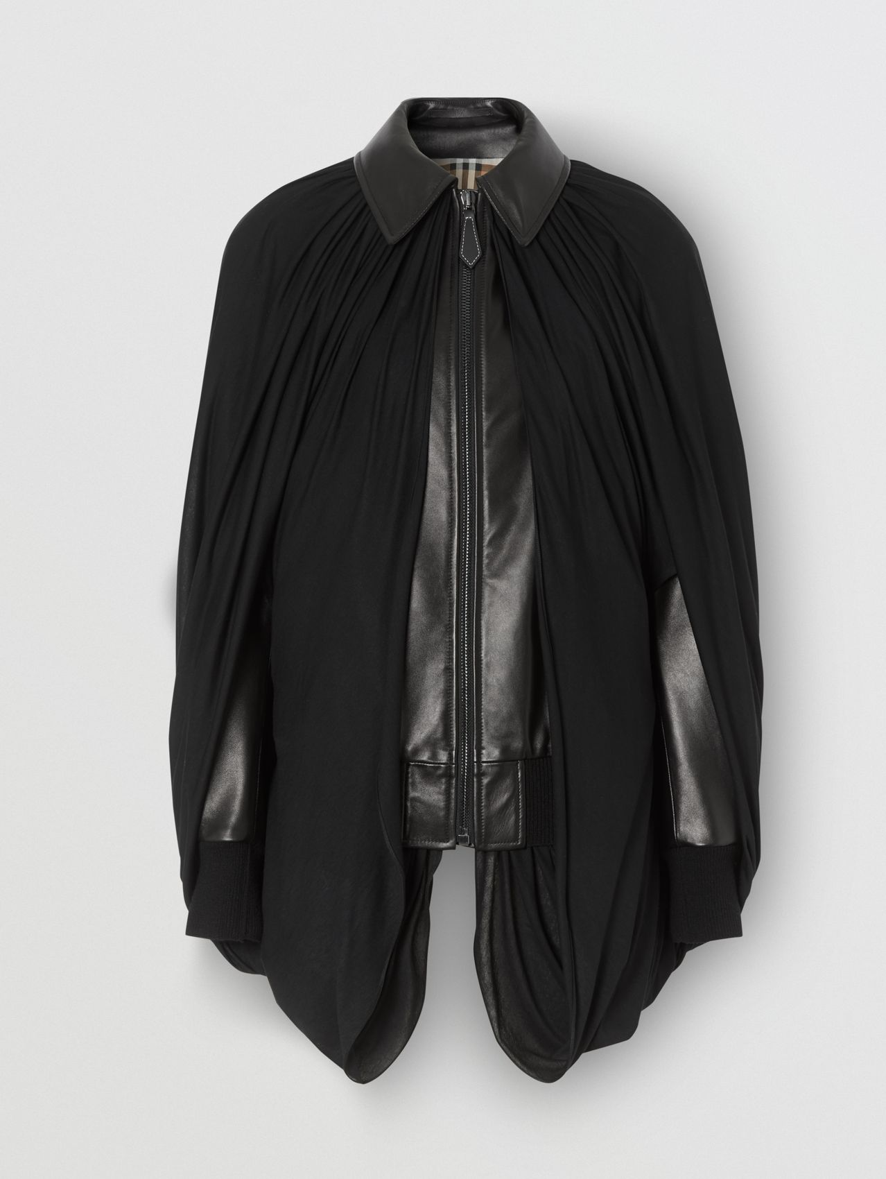 Jersey Cape Detail Lambskin Harrington Jacket in Black
