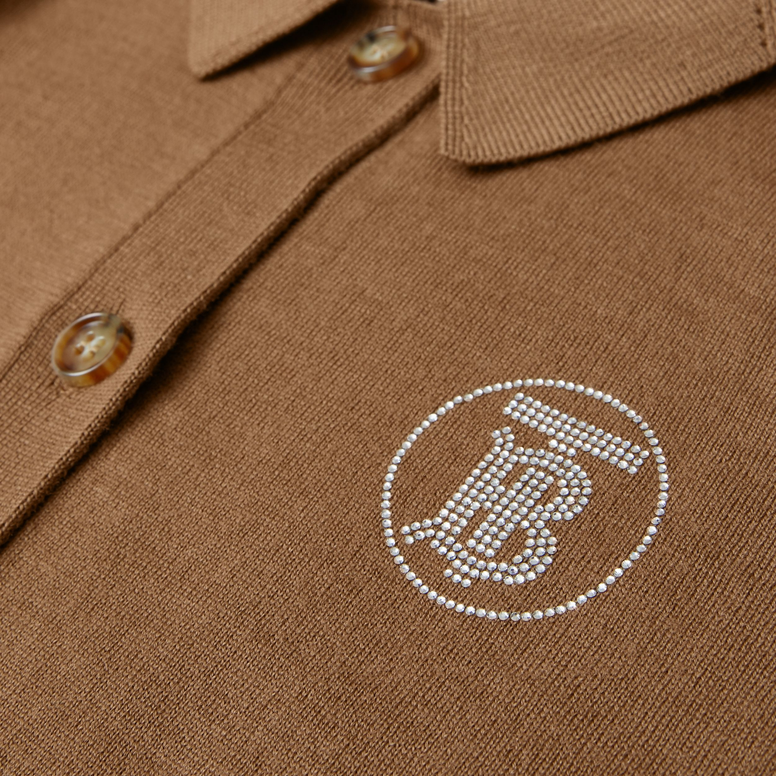 Crystal Monogram Motif Merino Wool Cardigan in Oak Brown | Burberry Hong Kong S.A.R. - 2