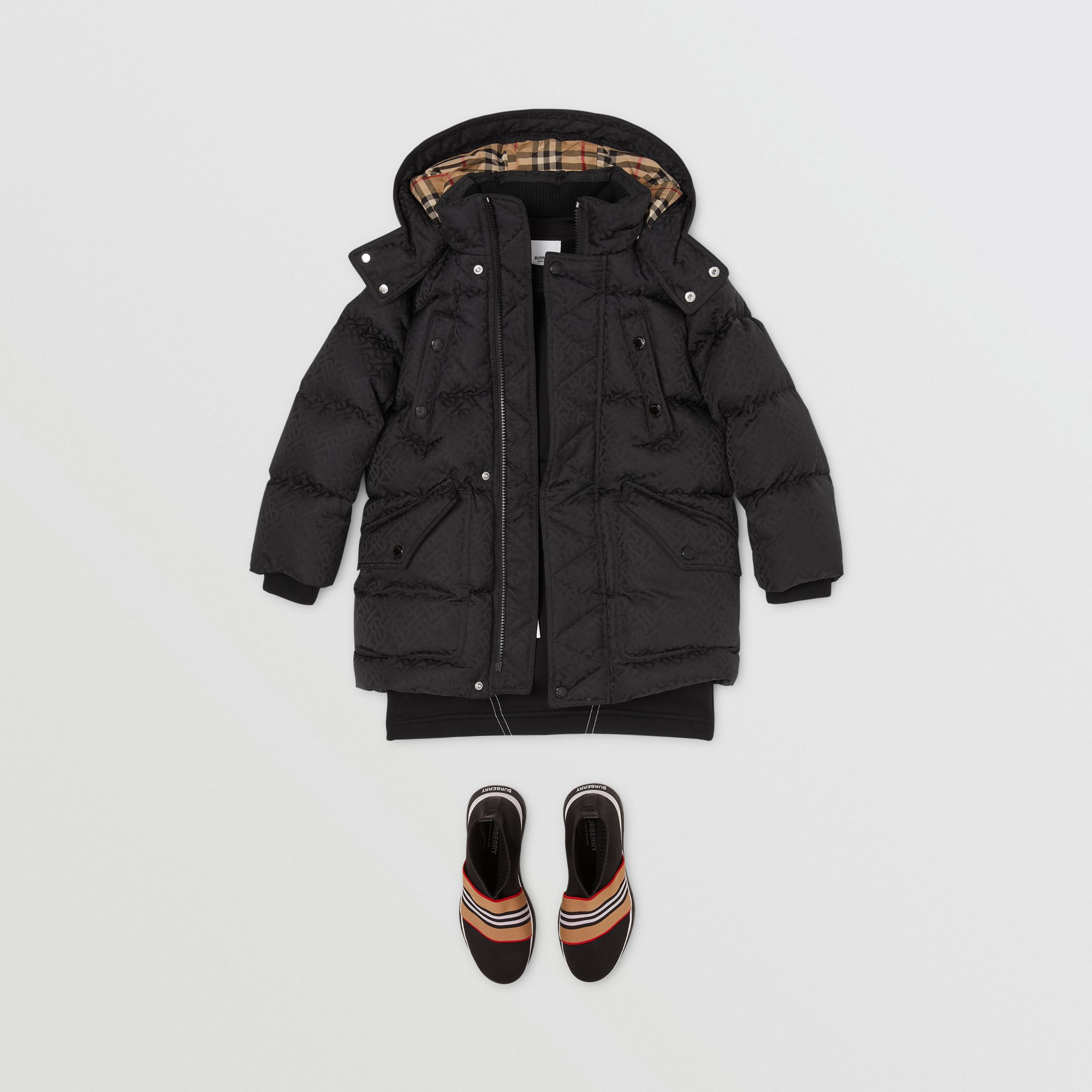 Detachable Hood Monogram Jacquard Puffer Coat in Black | Burberry - 4