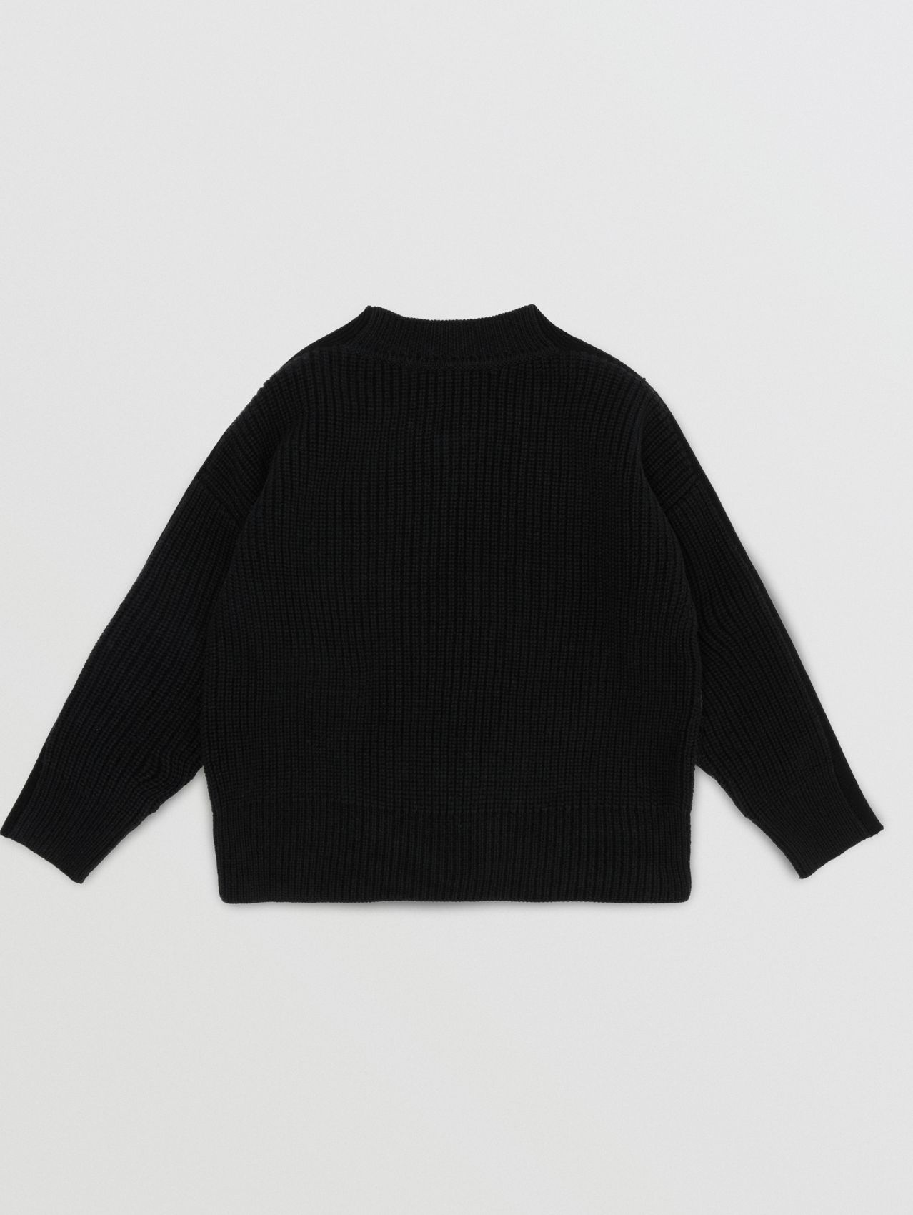 Embroidered Logo Cable Knit Wool Blend Sweater in White/black