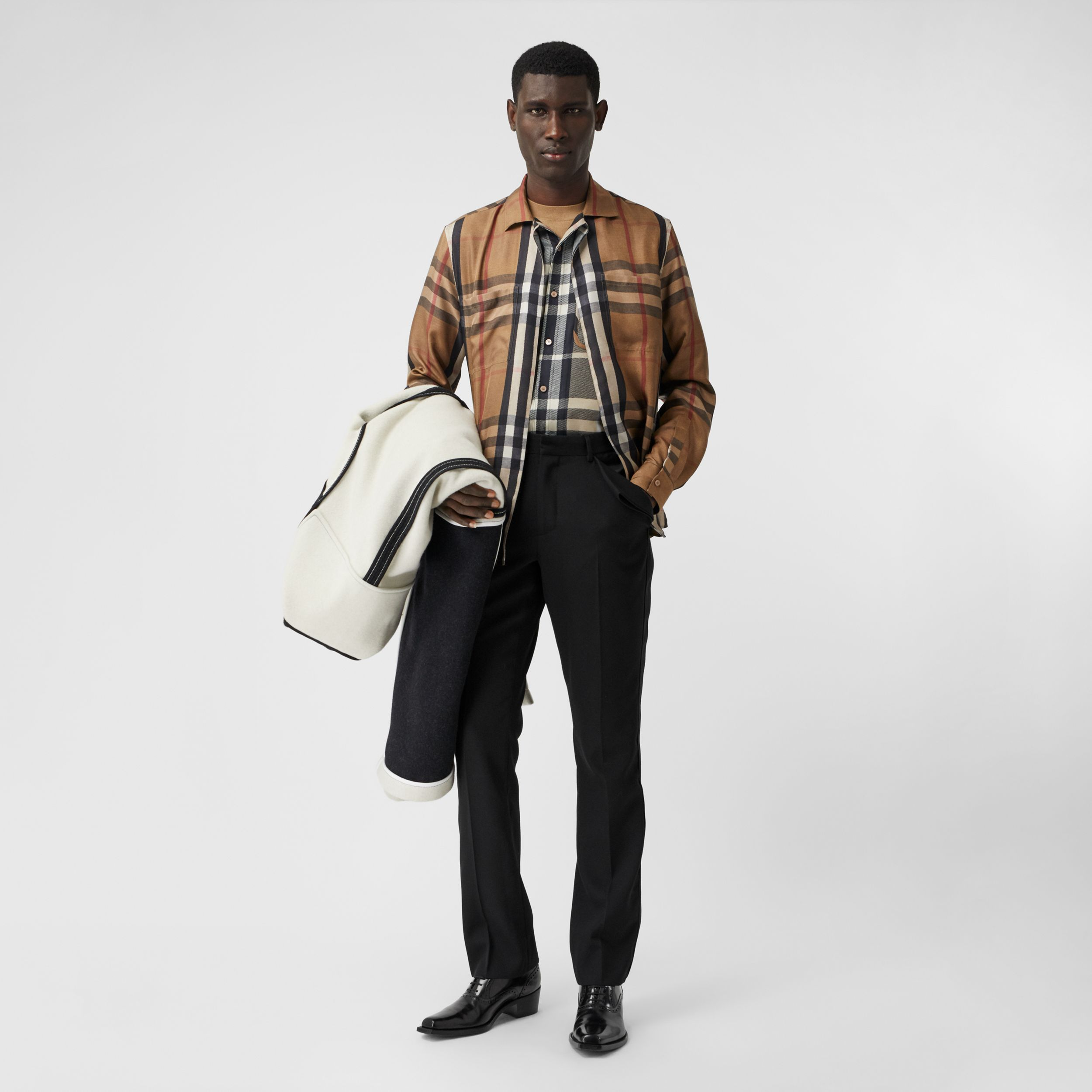 Classic Fit Check Silk Twill Reconstructed Shirt in Birch Brown | Burberry - 1