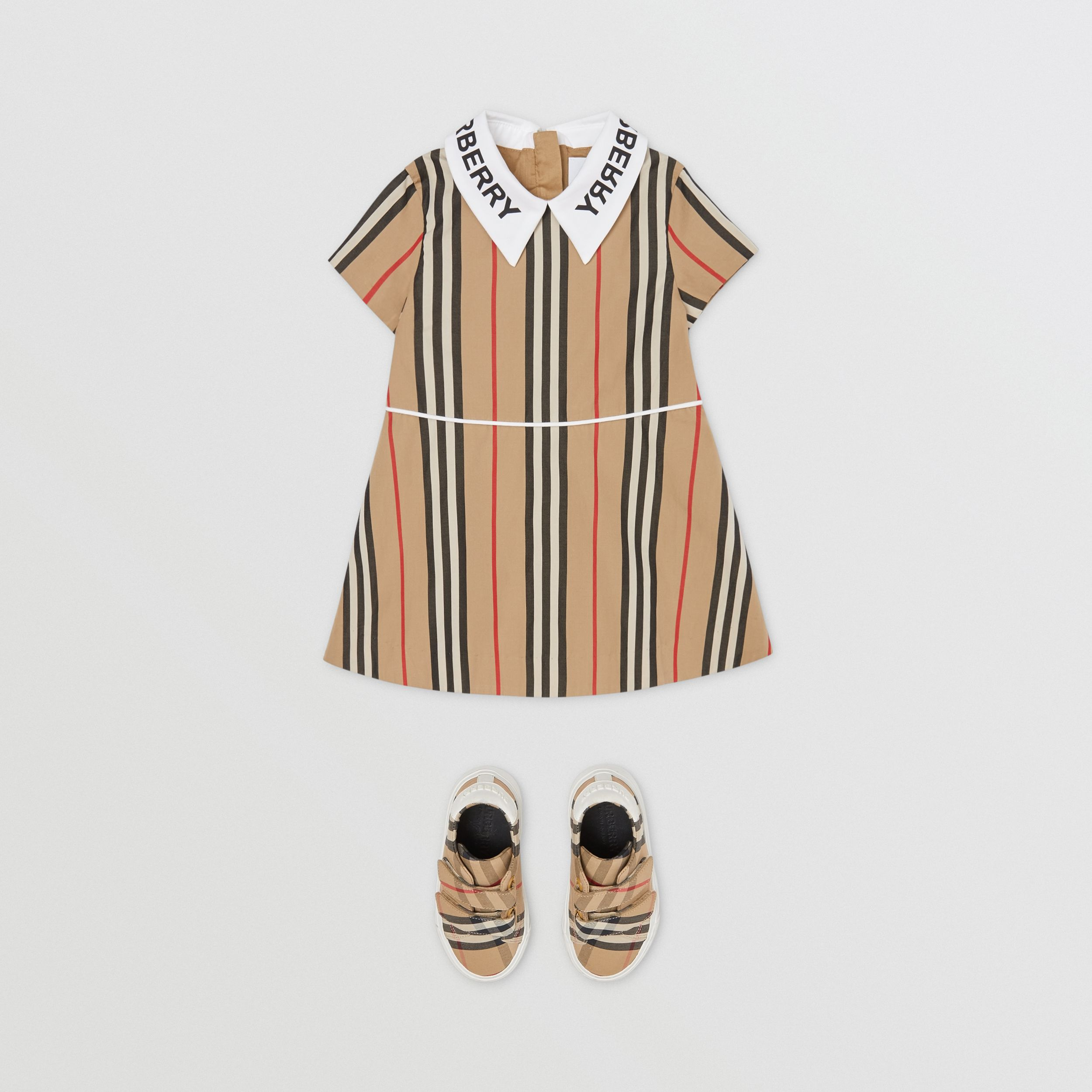 Logo Print Icon Stripe Cotton Poplin Dress in Archive Beige - Children | Burberry - 3