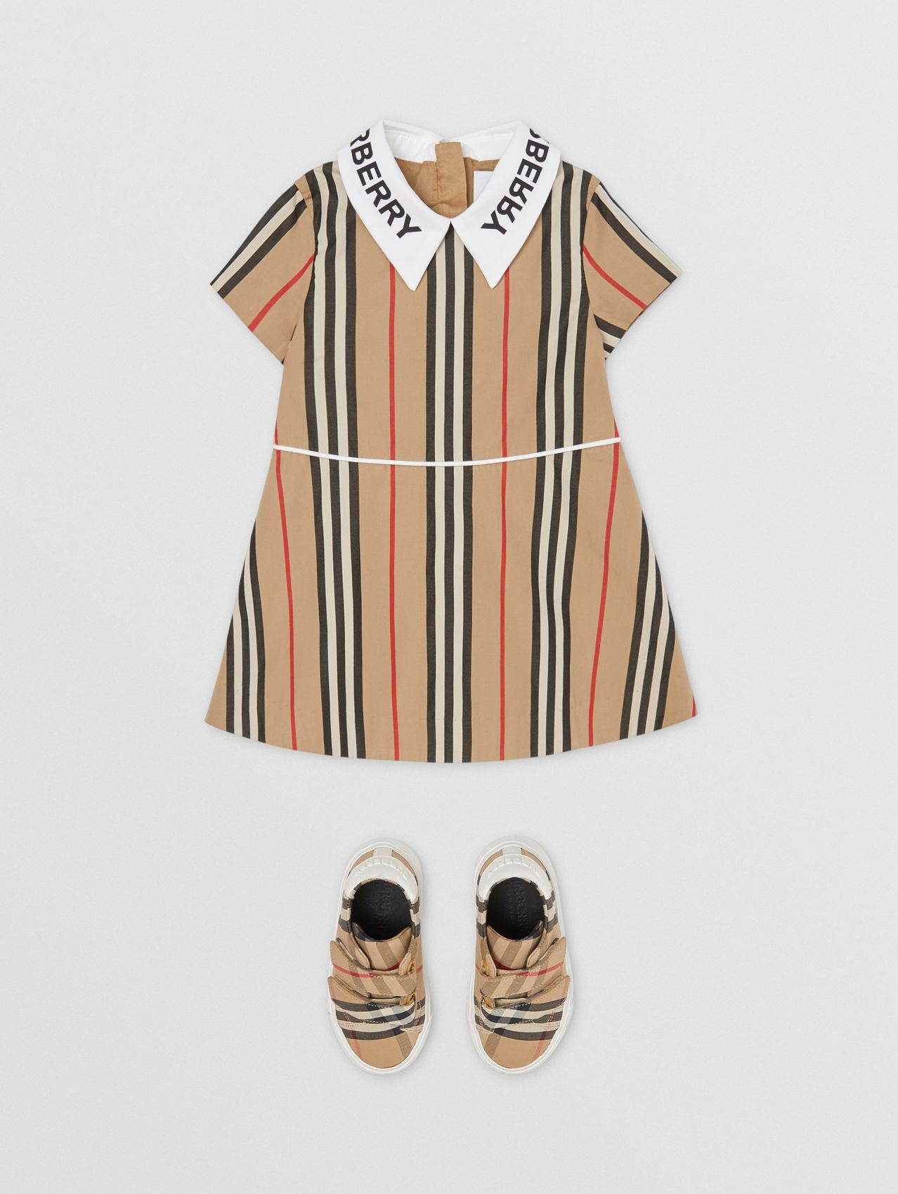 Logo Print Icon Stripe Cotton Poplin Dress in Archive Beige