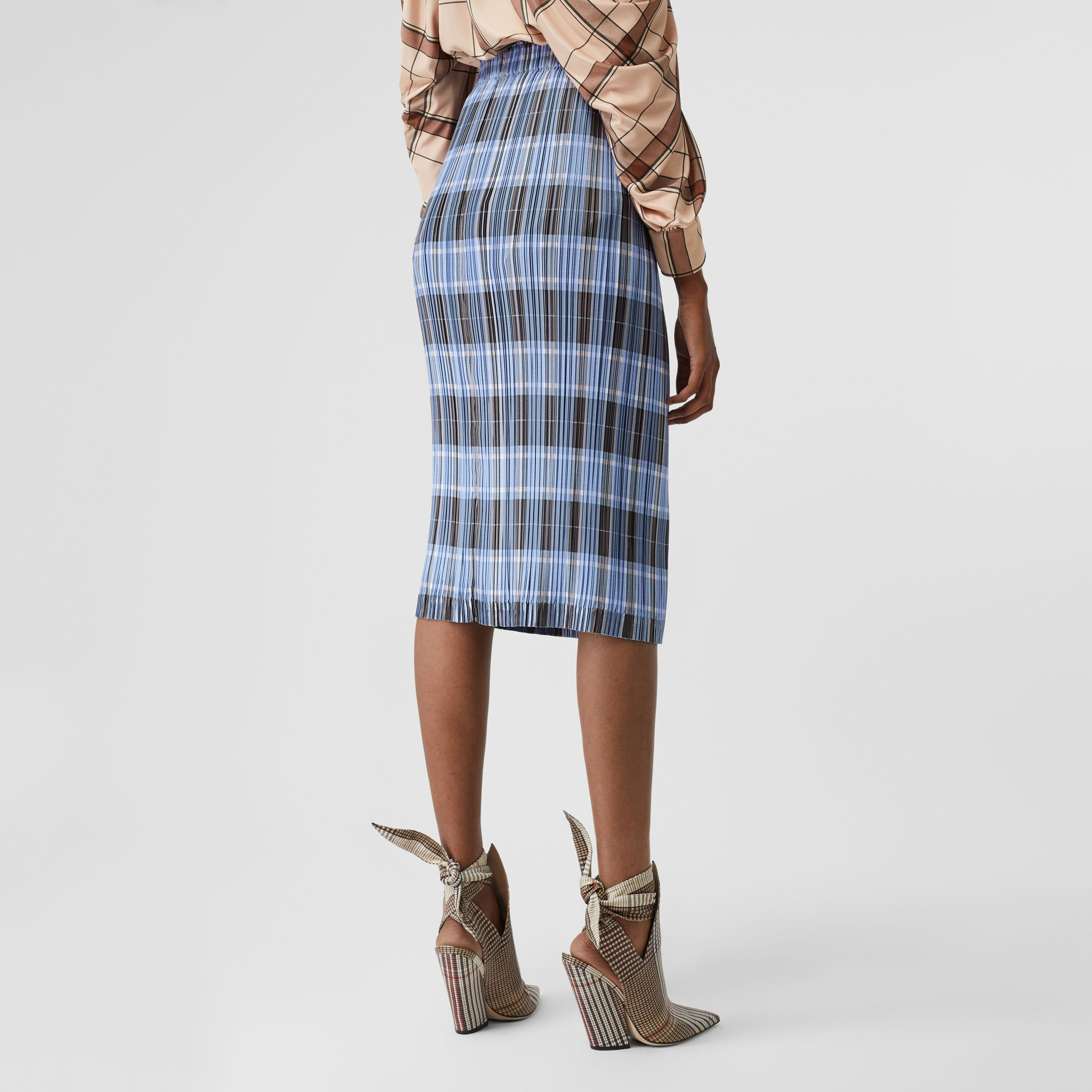 Check Plissé Skirt in Pale Blue - Women | Burberry United States - 3