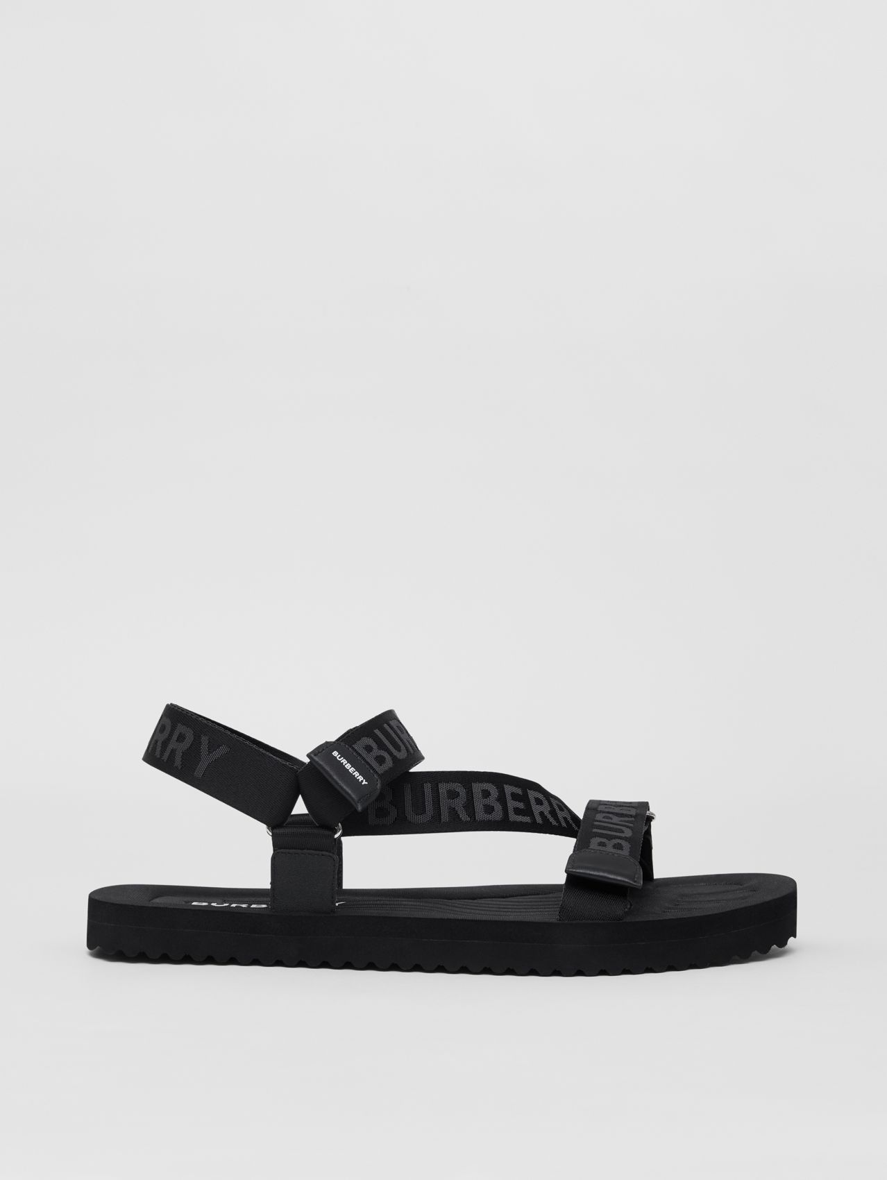 Logo Jacquard Sandals in Black