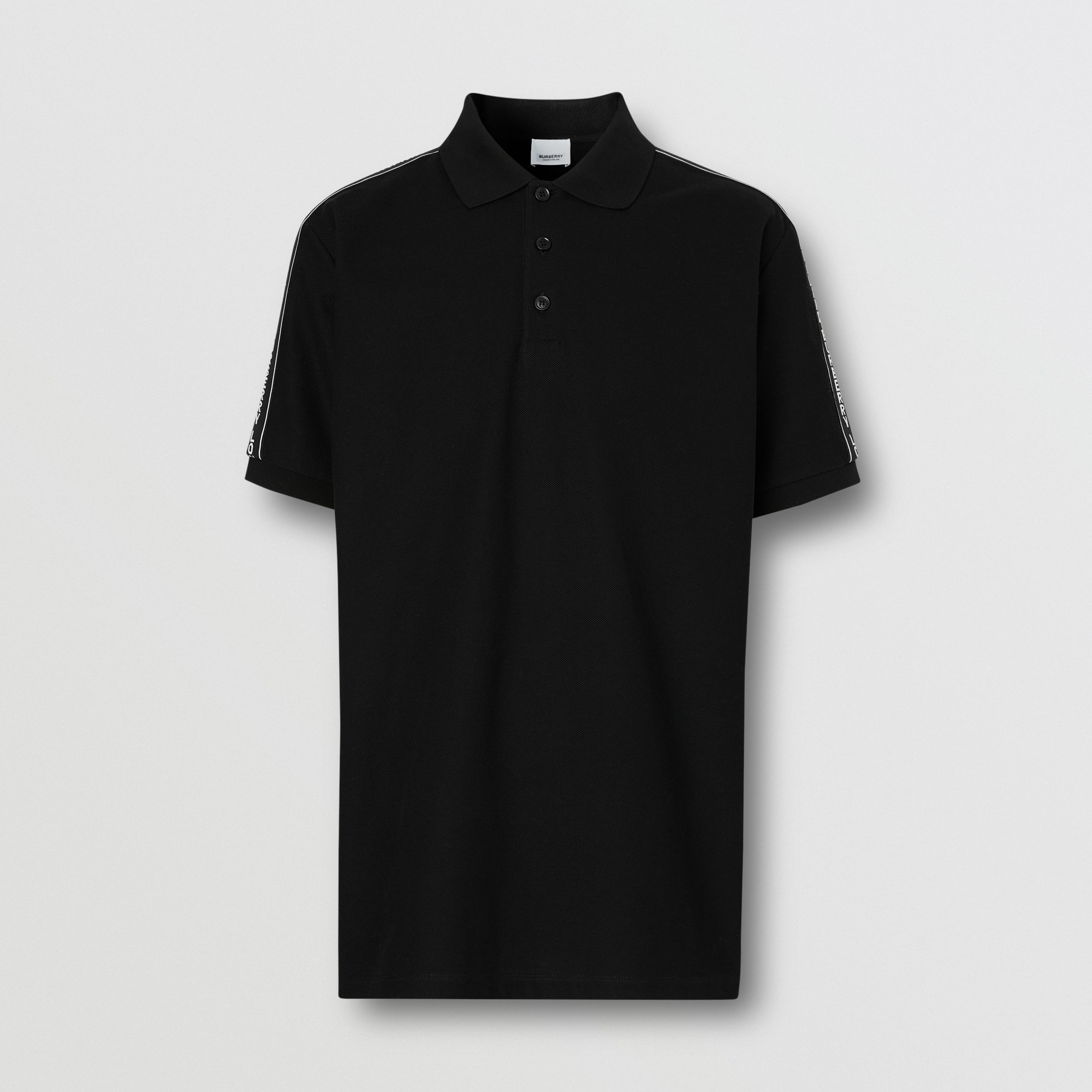 Logo Tape Cotton Piqué Polo Shirt - Men | Burberry - 4