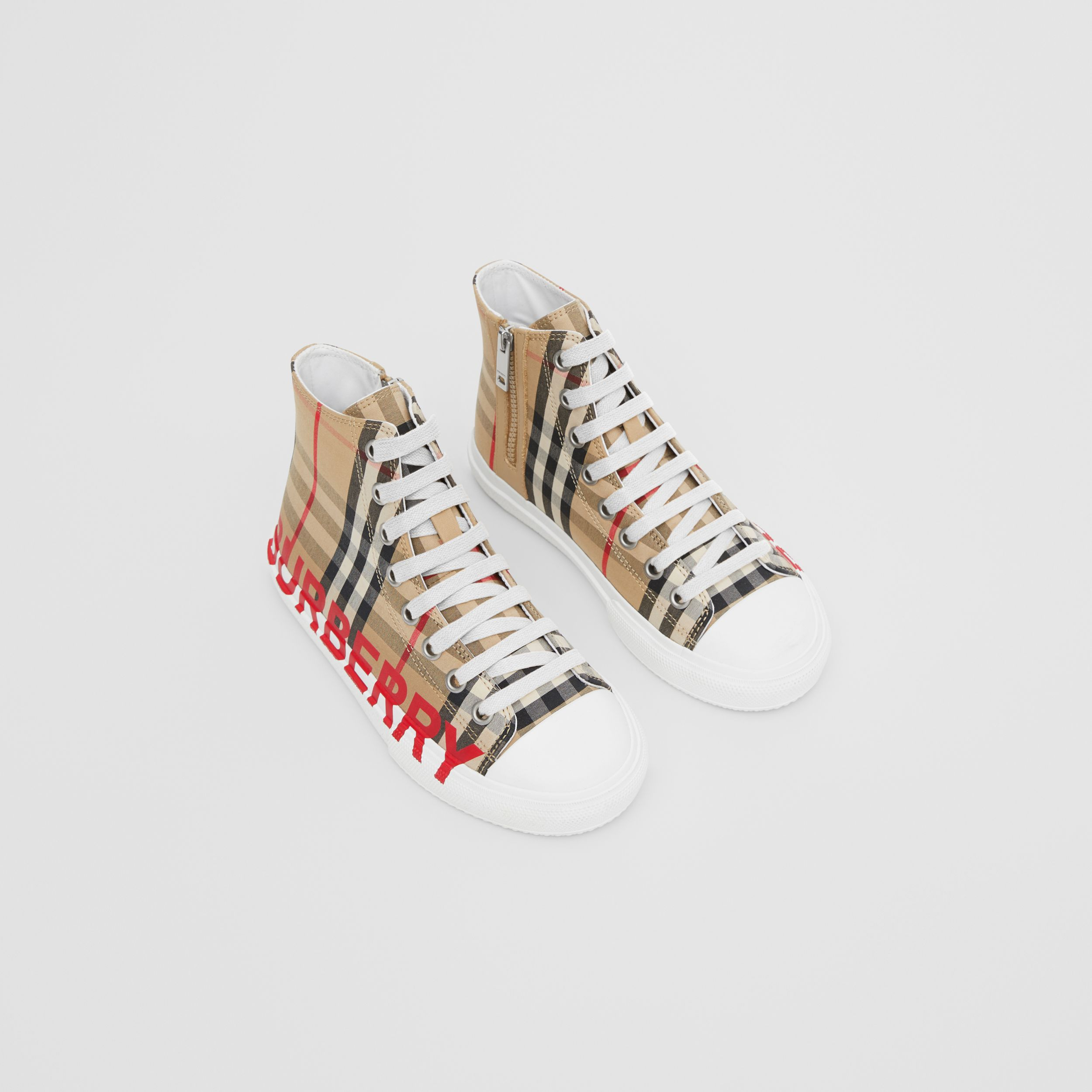 Logo Print Vintage Check High-top Sneakers in Archive Beige - Children | Burberry - 1