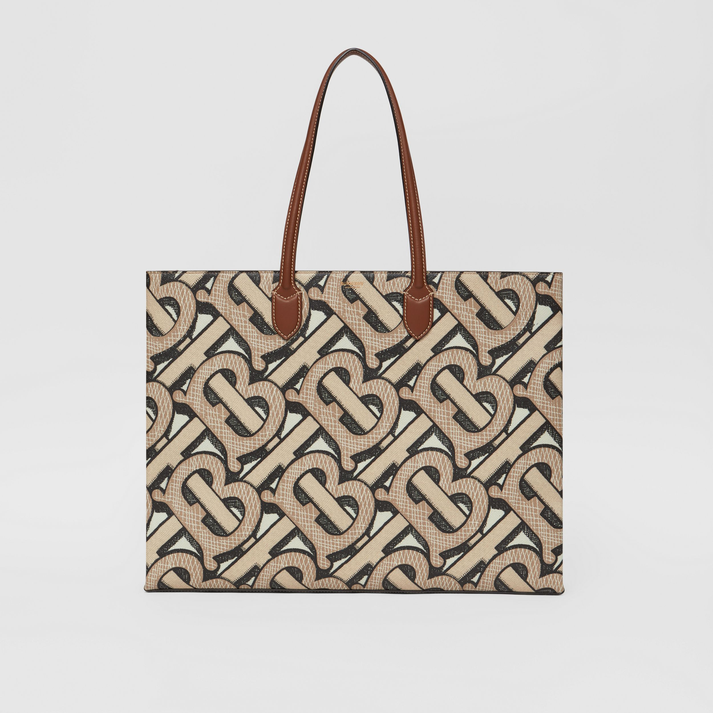 Monogram Print E-canvas Tote Bag in Dark Beige | Burberry Australia - 1