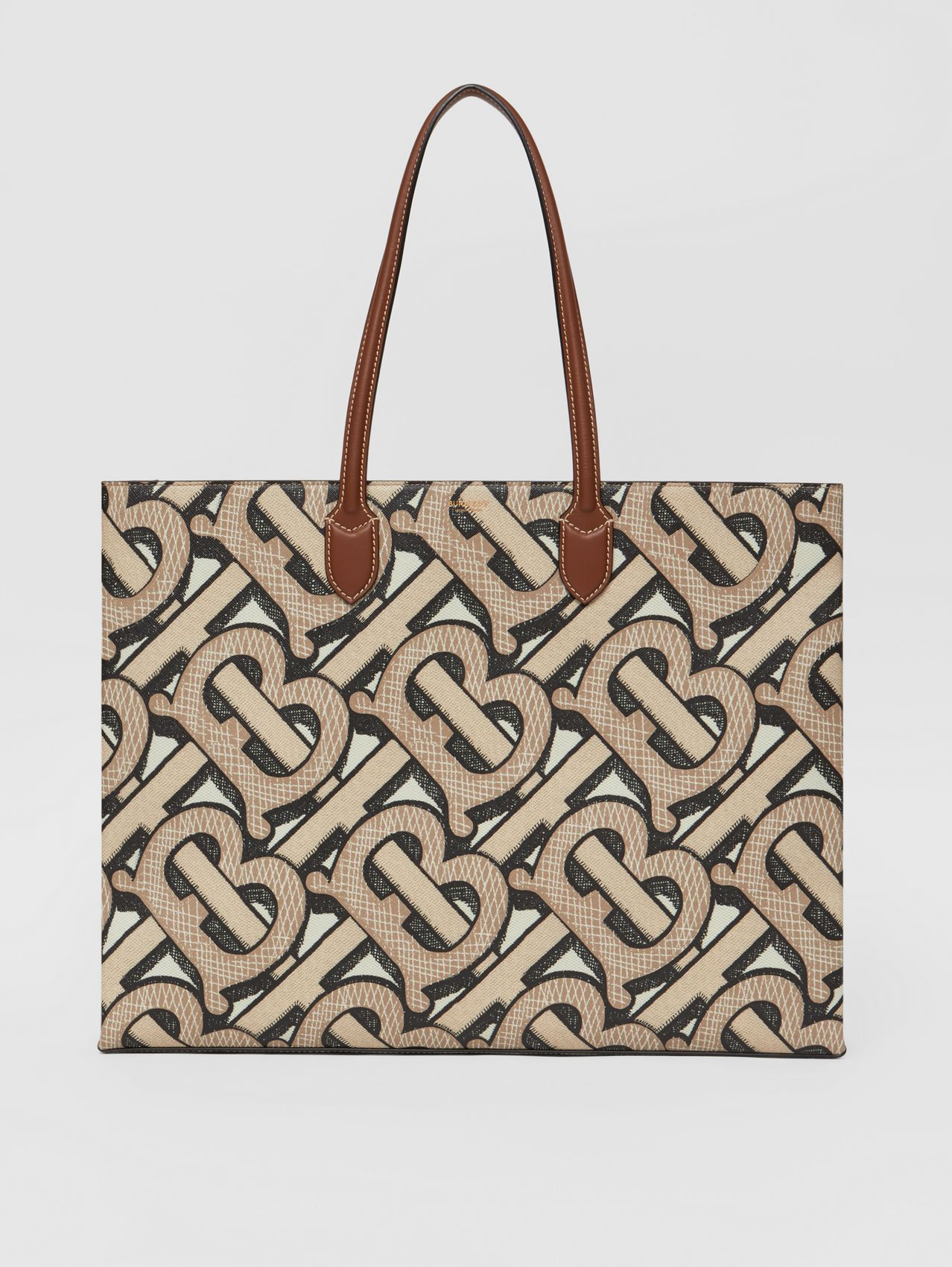 Monogram Print E-canvas Tote Bag in Dark Beige