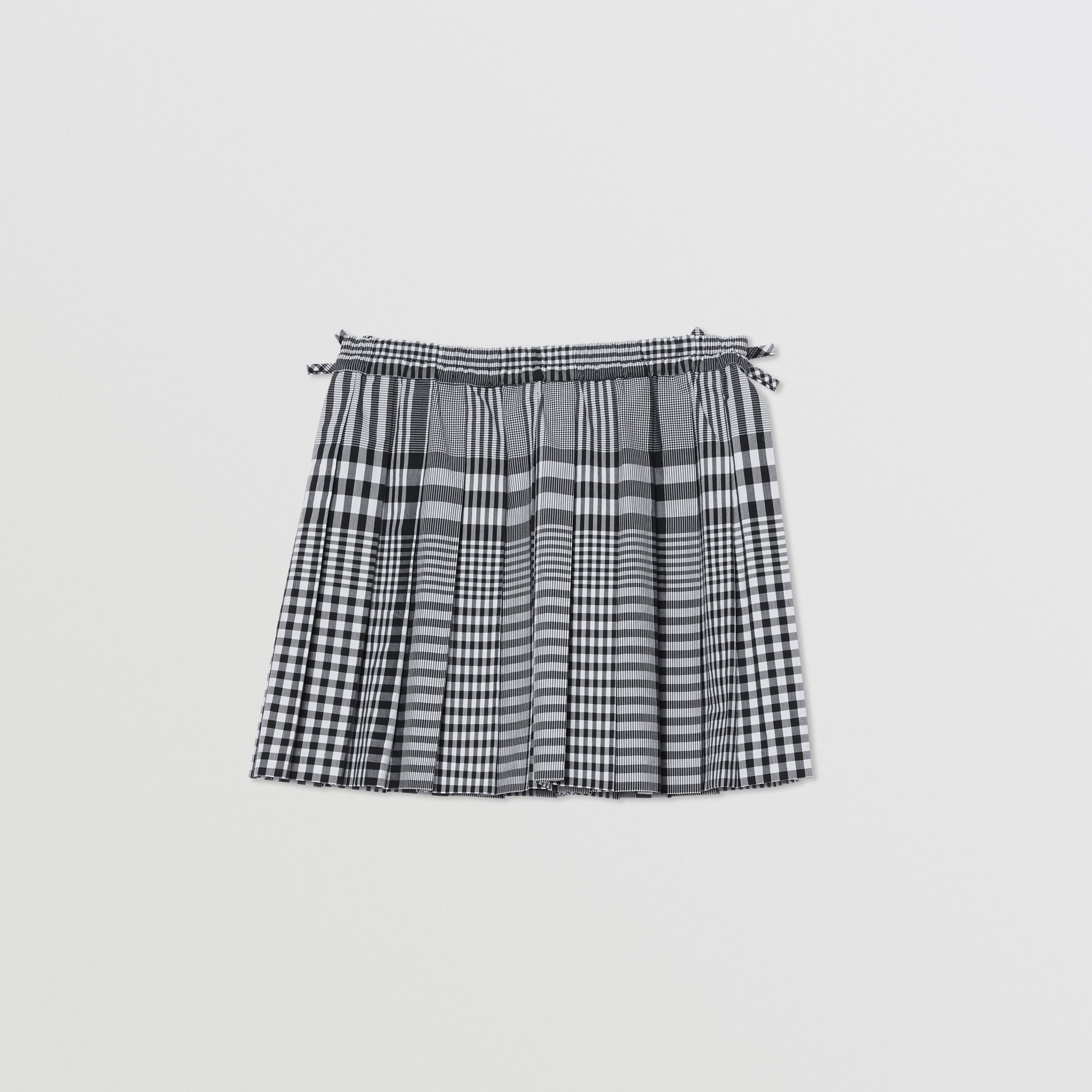 Check Cotton Poplin Pleated Skirt in Black | Burberry - 4