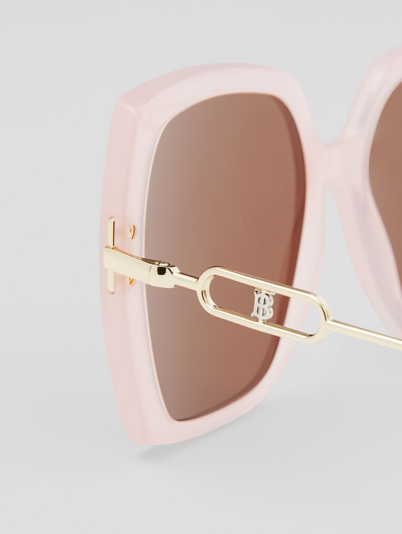 Chain-link Detail Oversized Square Frame Sunglasses in Nude Pink