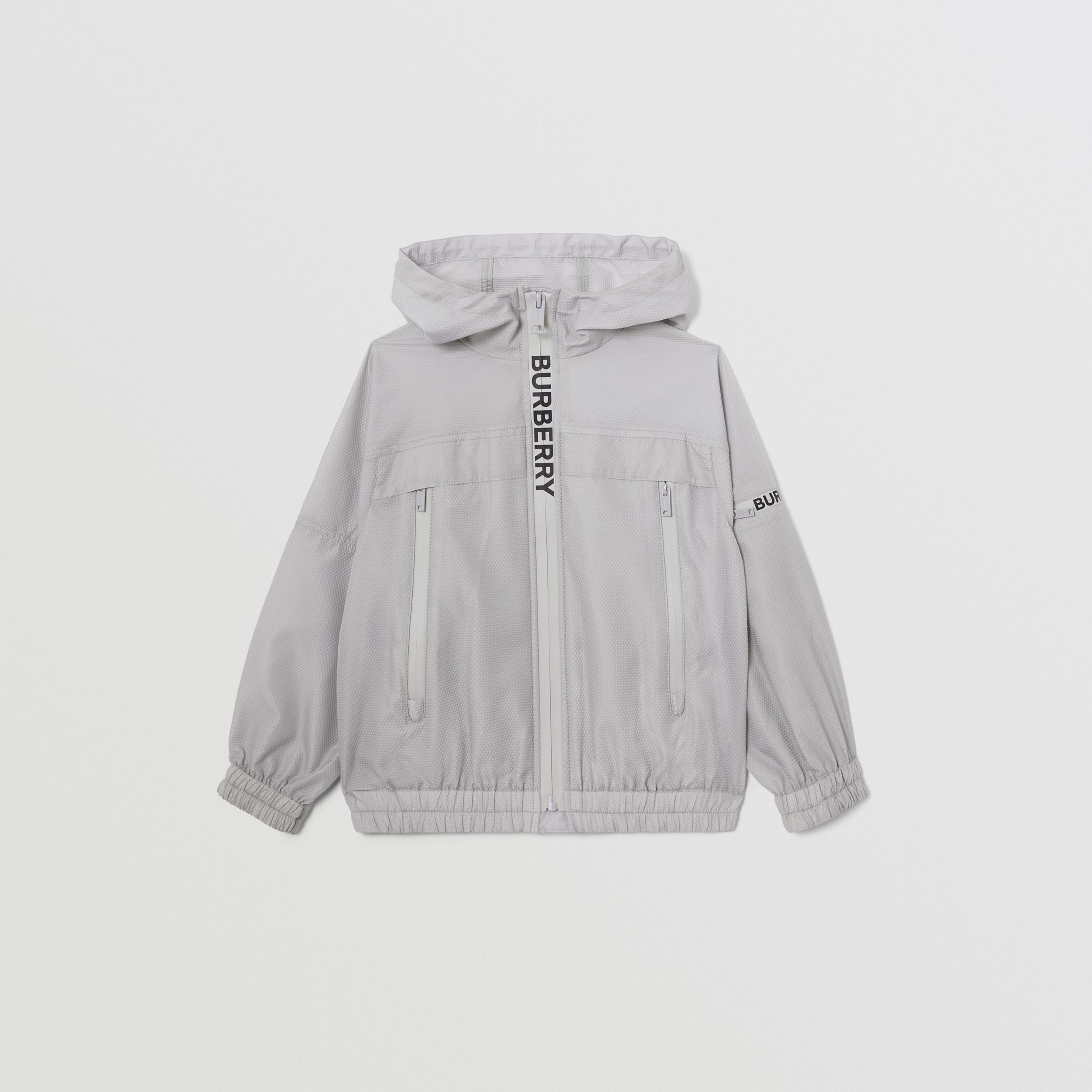 Logo Print Lightweight Hooded Jacket in Light Grey | Burberry - 1