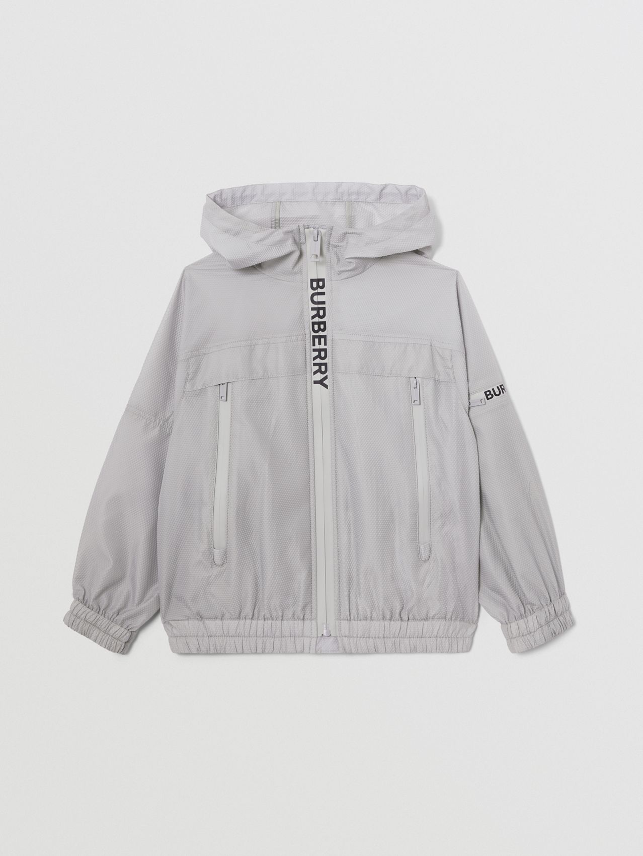 Logo Print Lightweight Hooded Jacket in Light Grey