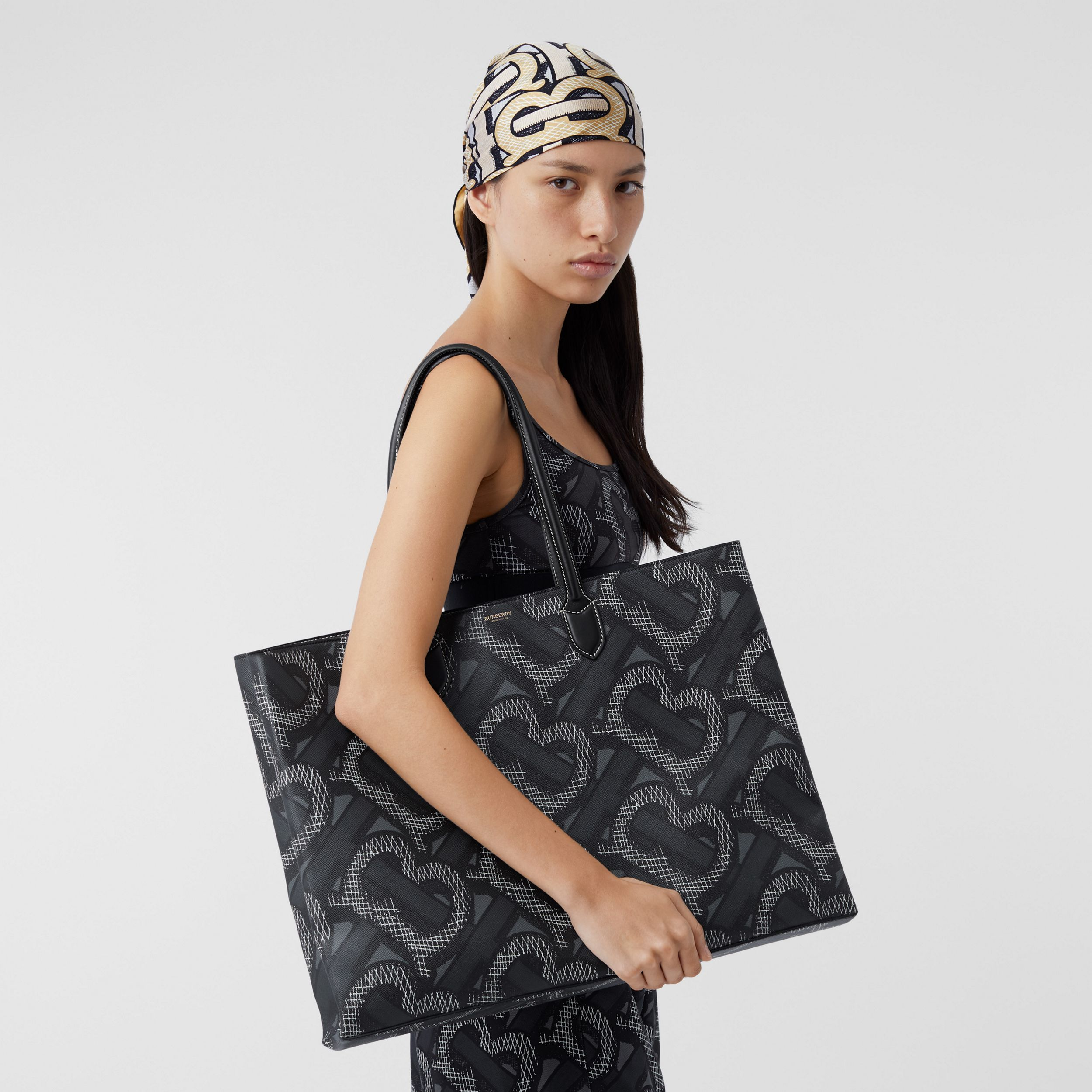 Monogram Print E-canvas Tote Bag in Graphite | Burberry Australia - 3