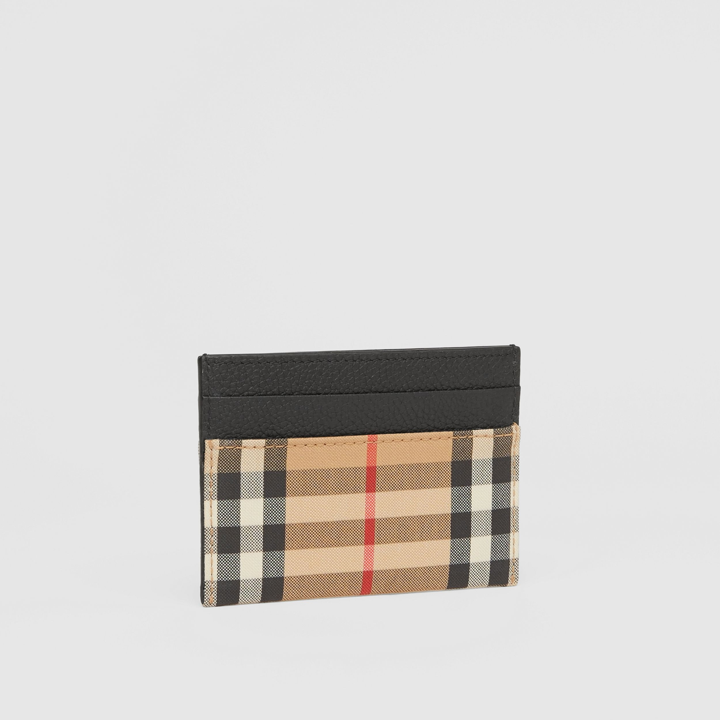 Vintage Check and Leather Card Case in Black - Women | Burberry - 4