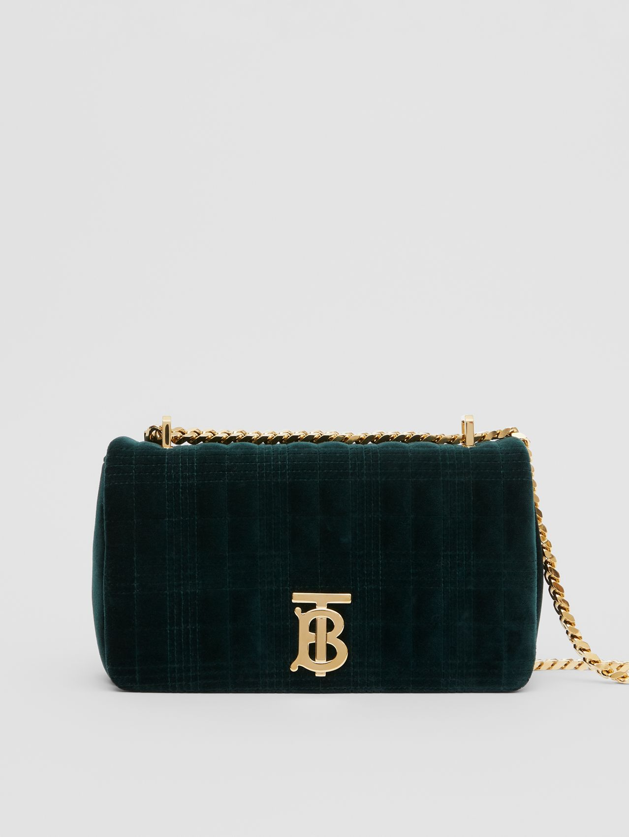 Small Quilted Velvet Lola Bag in Dark Green