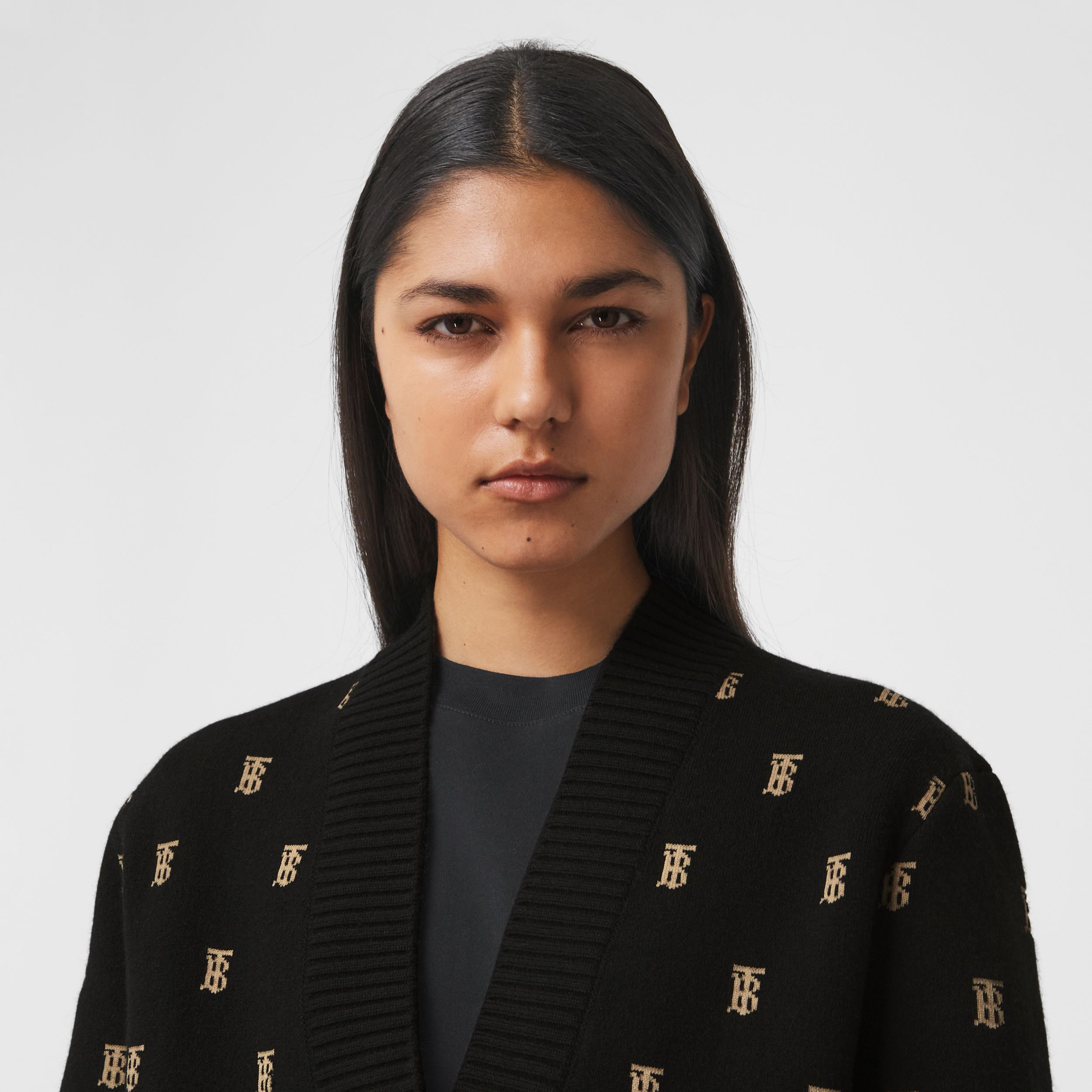 Monogram Wool Cashmere Blend Oversized Cardigan in Black - Women | Burberry - 2