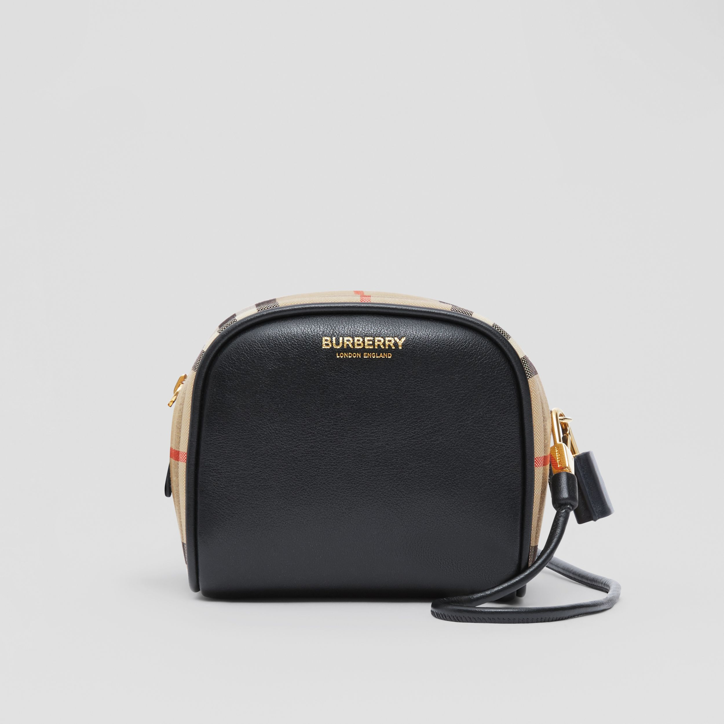 Micro Leather and Vintage Check Cube Bag in Black/archive Beige | Burberry - 1