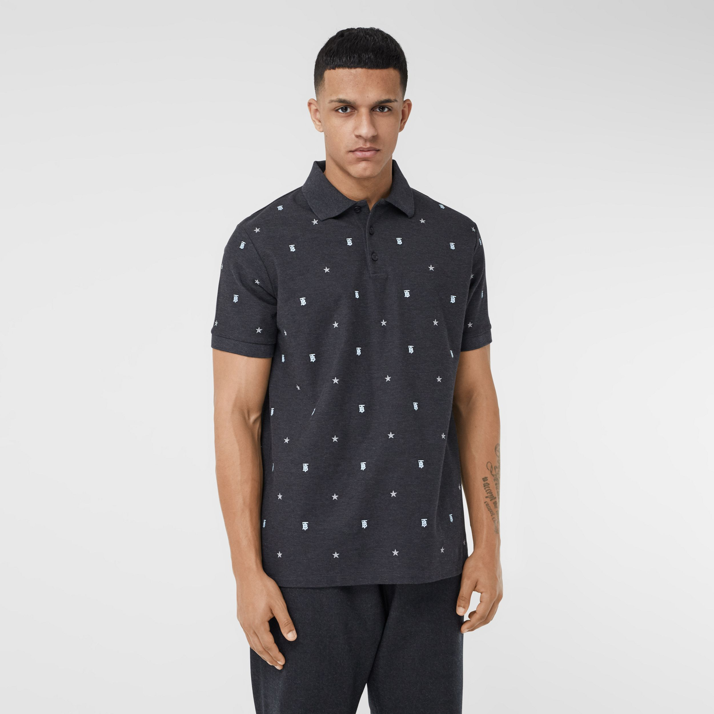 Star and Monogram Motif Cotton Piqué Polo Shirt in Charcoal Melange - Men | Burberry - 1
