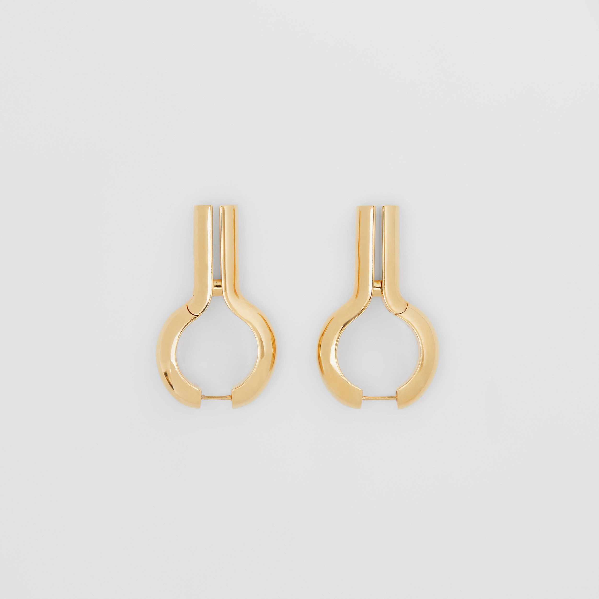 Gold-plated Keyhole Earrings in Light - Women | Burberry - 1
