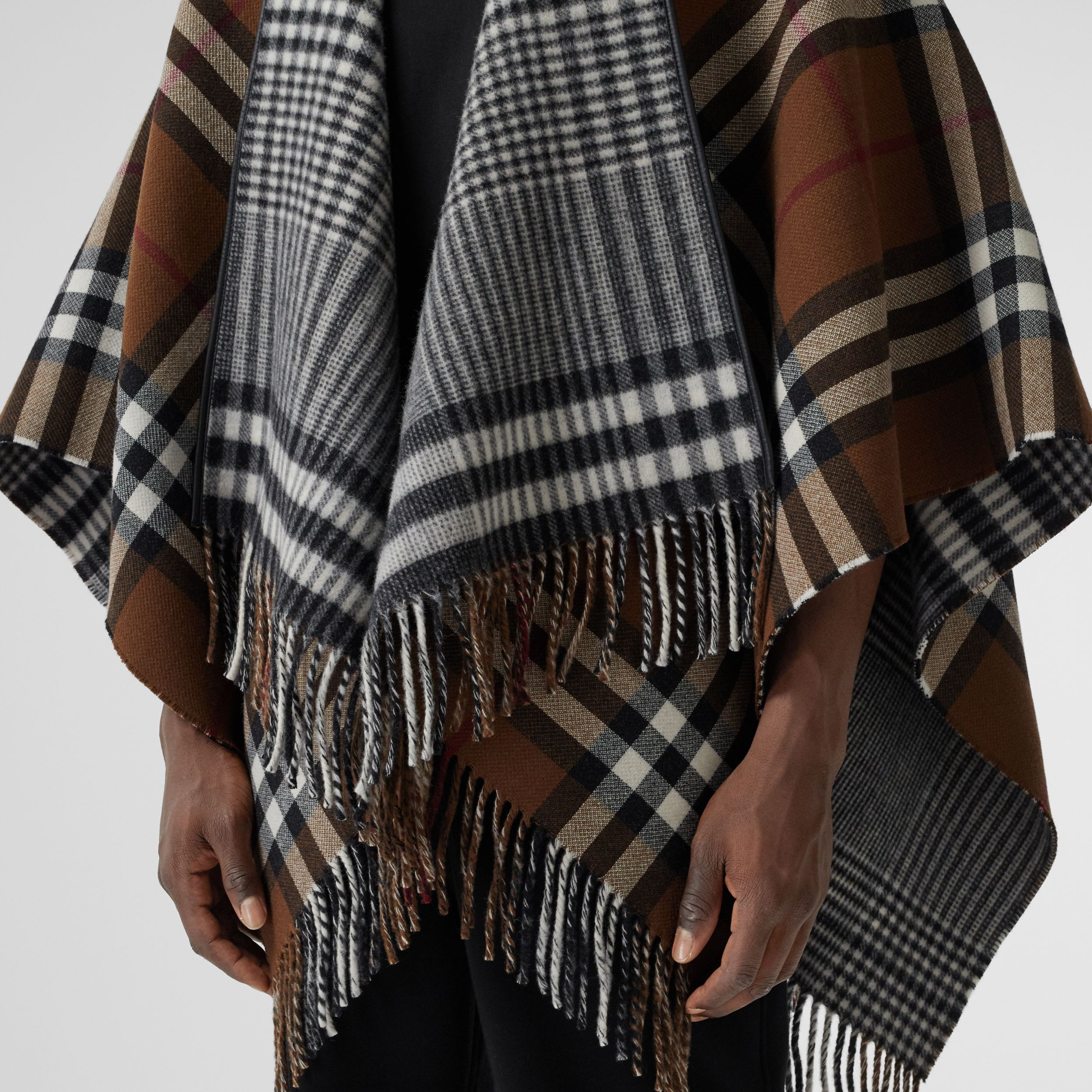 Reversible Lambskin Trim Check Wool Cape in Birch Brown | Burberry - 2