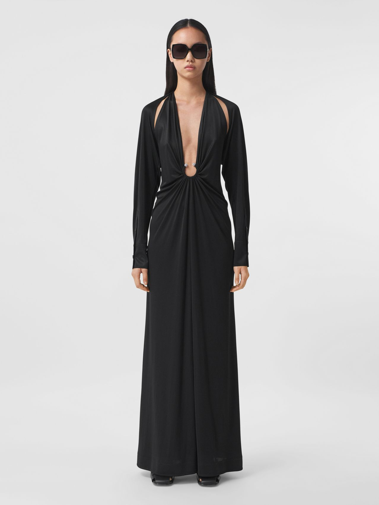 Crystal Ring Detail Gathered Jersey Gown in Black