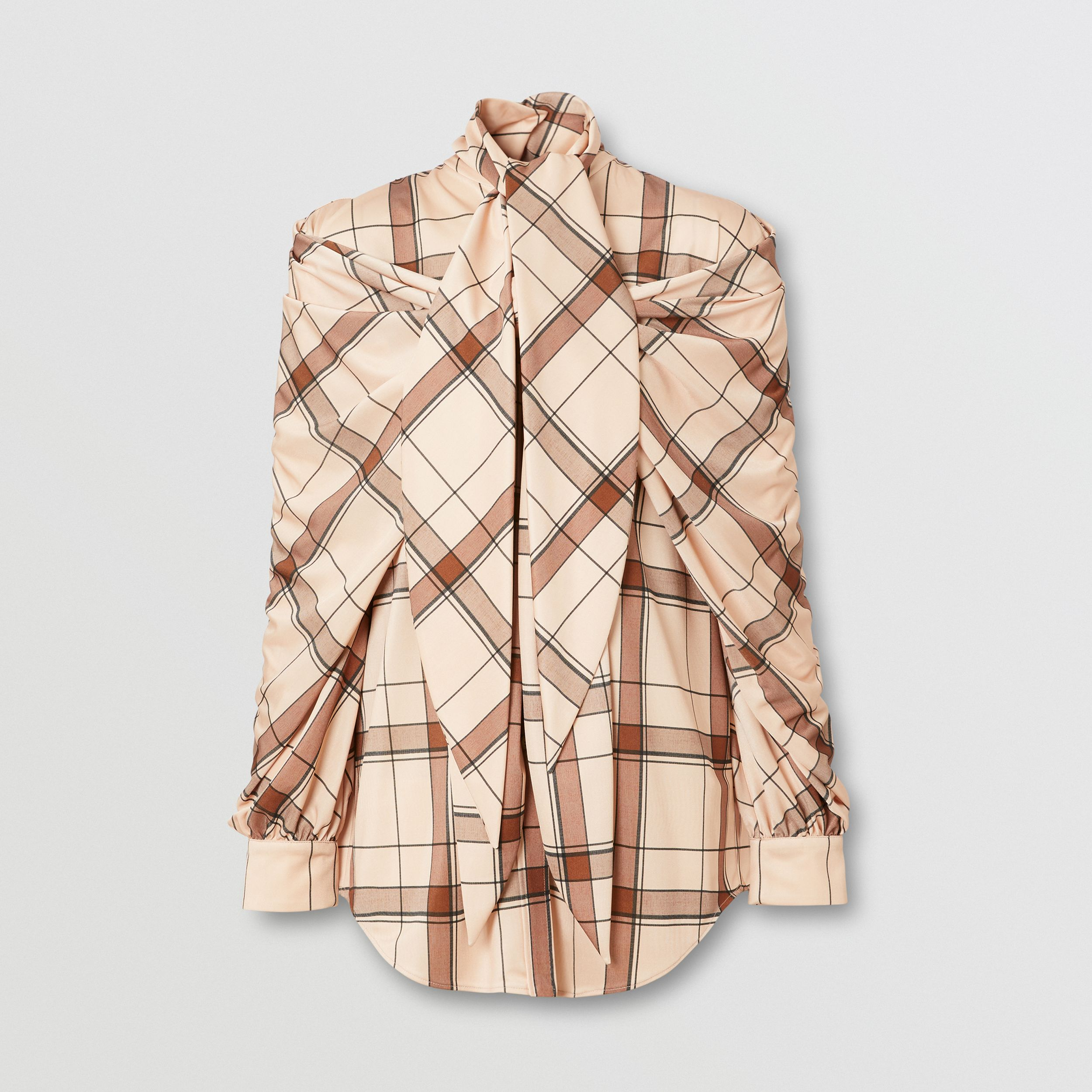 Check Draped Tie-neck Shirt in Blush Pink - Women | Burberry - 4