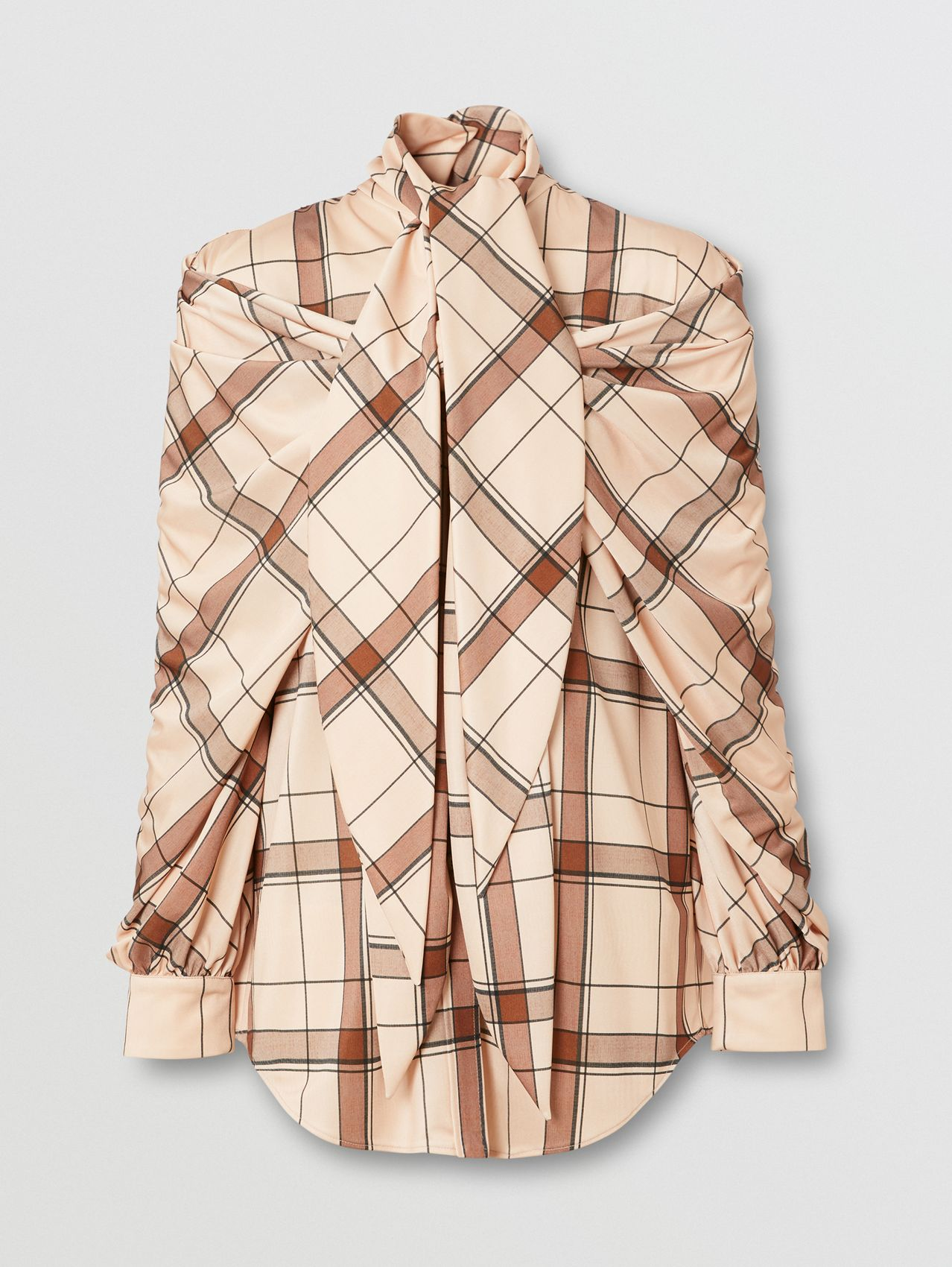 Check Draped Tie-neck Shirt in Blush Pink