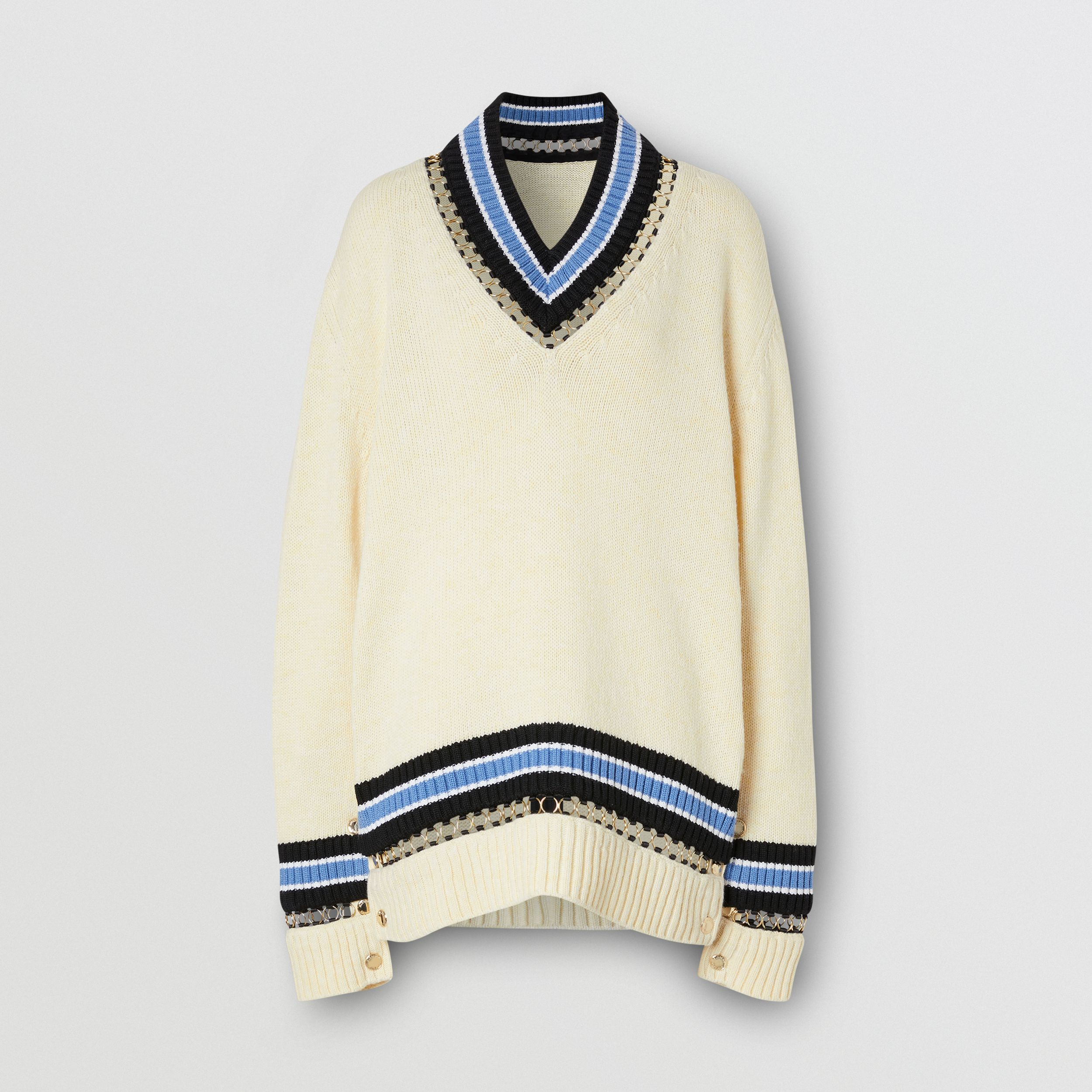 Ring-pierced Wool Oversized Cricket Sweater in White - Women | Burberry Hong Kong S.A.R. - 4