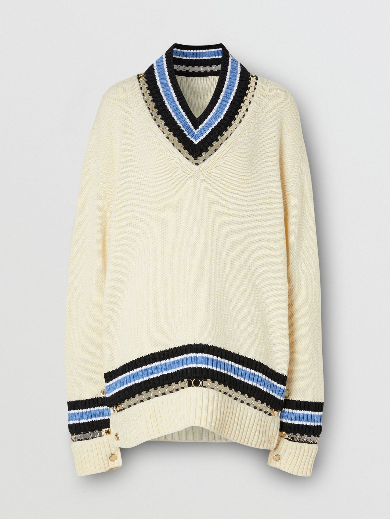 Ring-pierced Wool Oversized Cricket Sweater in White