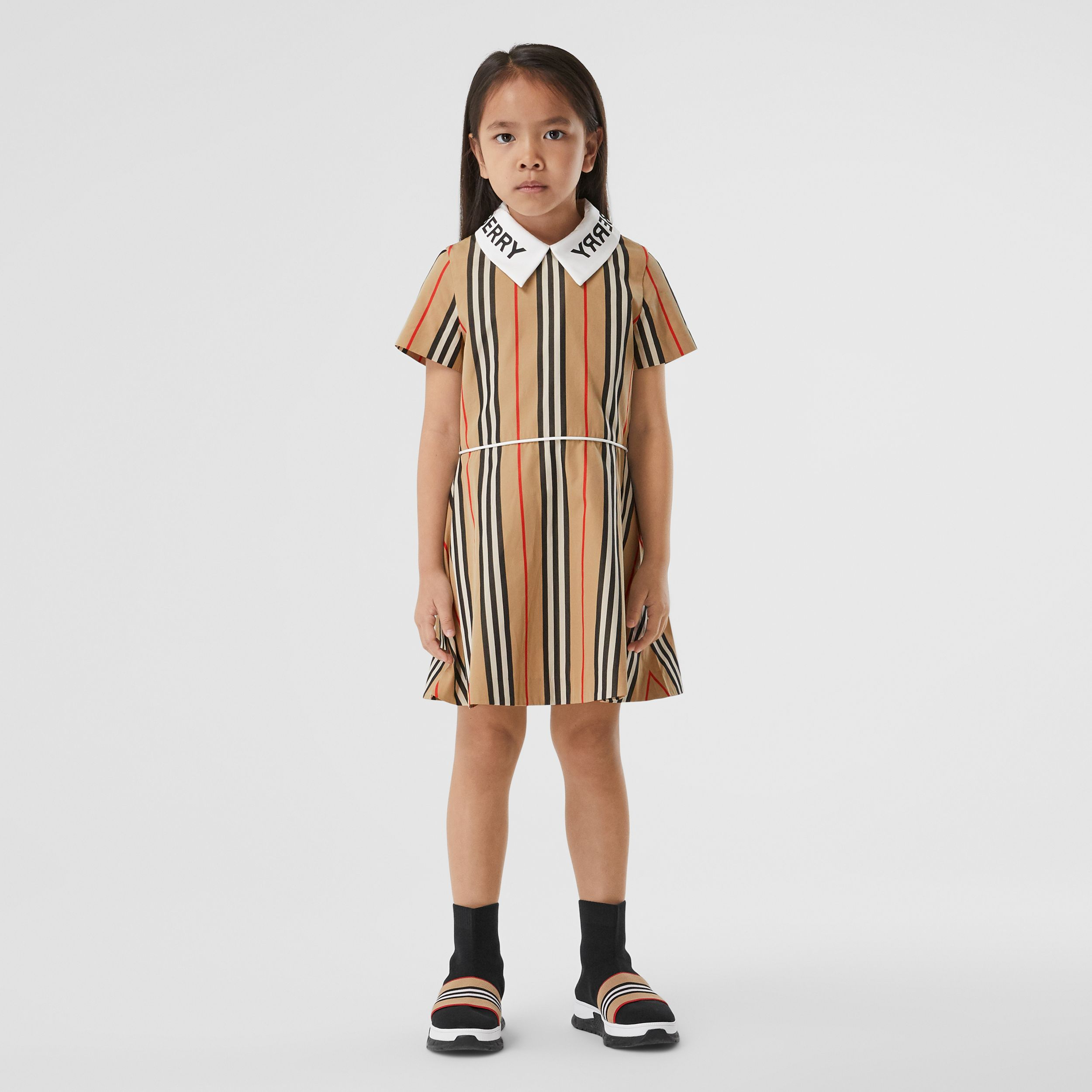 Logo Print Icon Stripe Cotton Poplin Dress in Archive Beige | Burberry Canada - 2