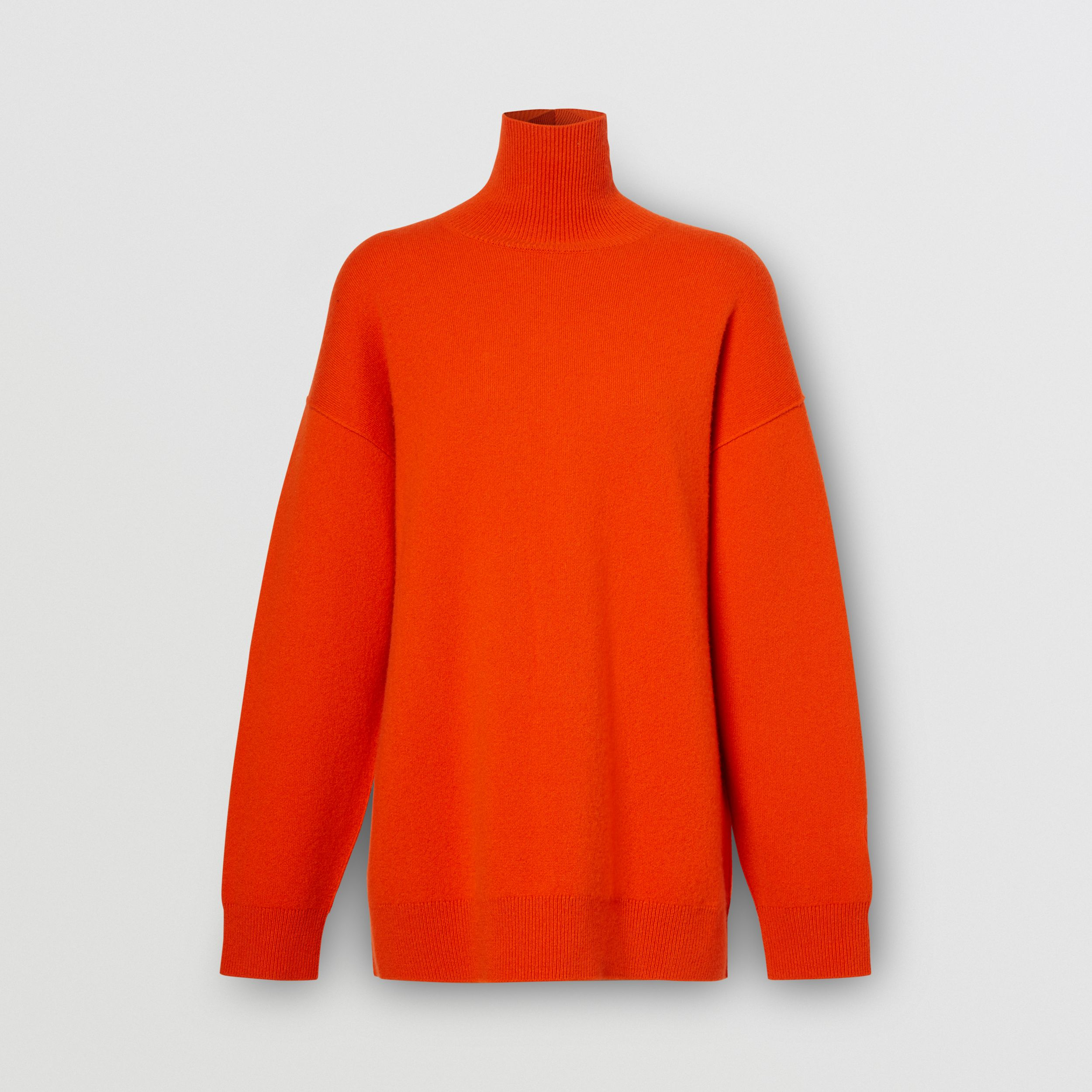 Monogram Motif Cashmere Blend Funnel Neck Sweater in Bright Orange - Women | Burberry - 4