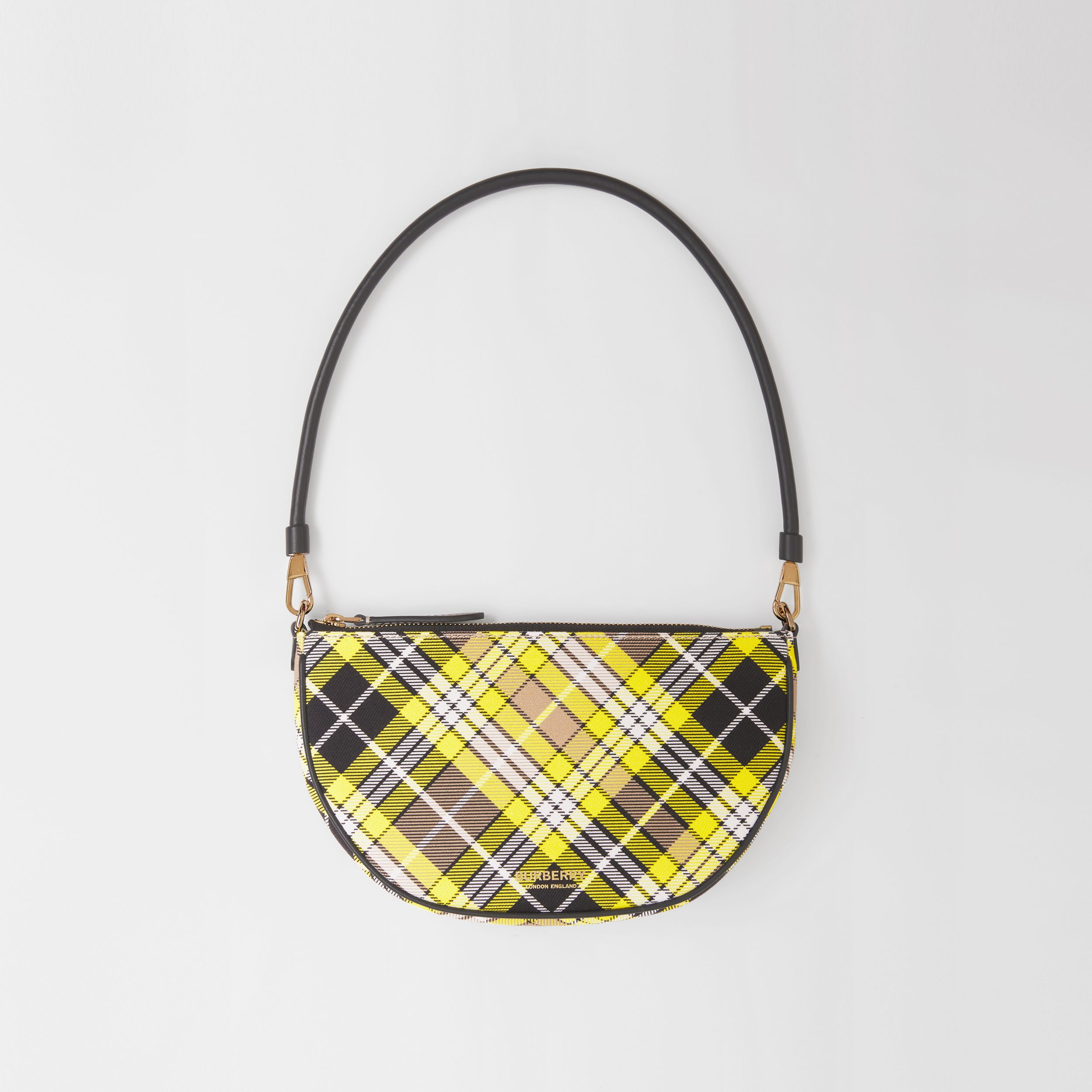 Tartan Cotton Olympia Pouch in Marigold Yellow - Women | Burberry - 1